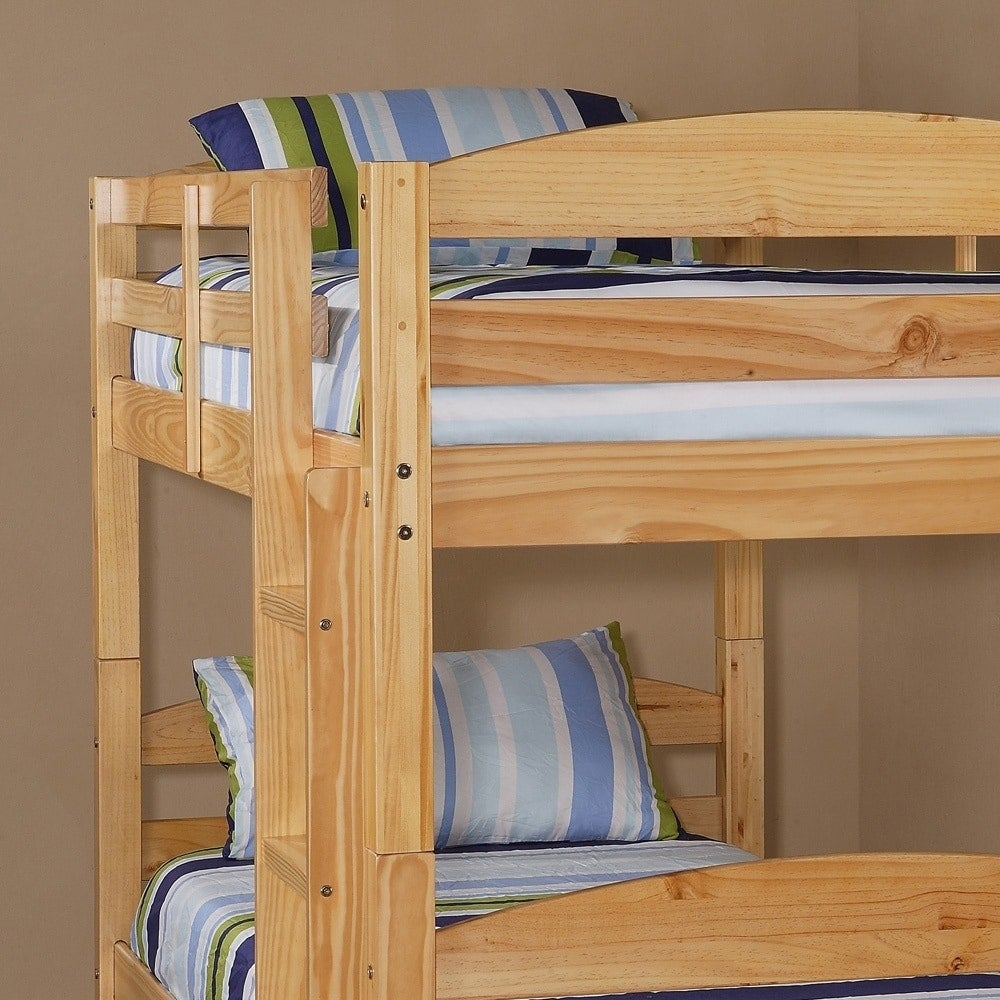 Shop Twin Over Twin Solid Natural Wood Bunk Bed On Sale Free