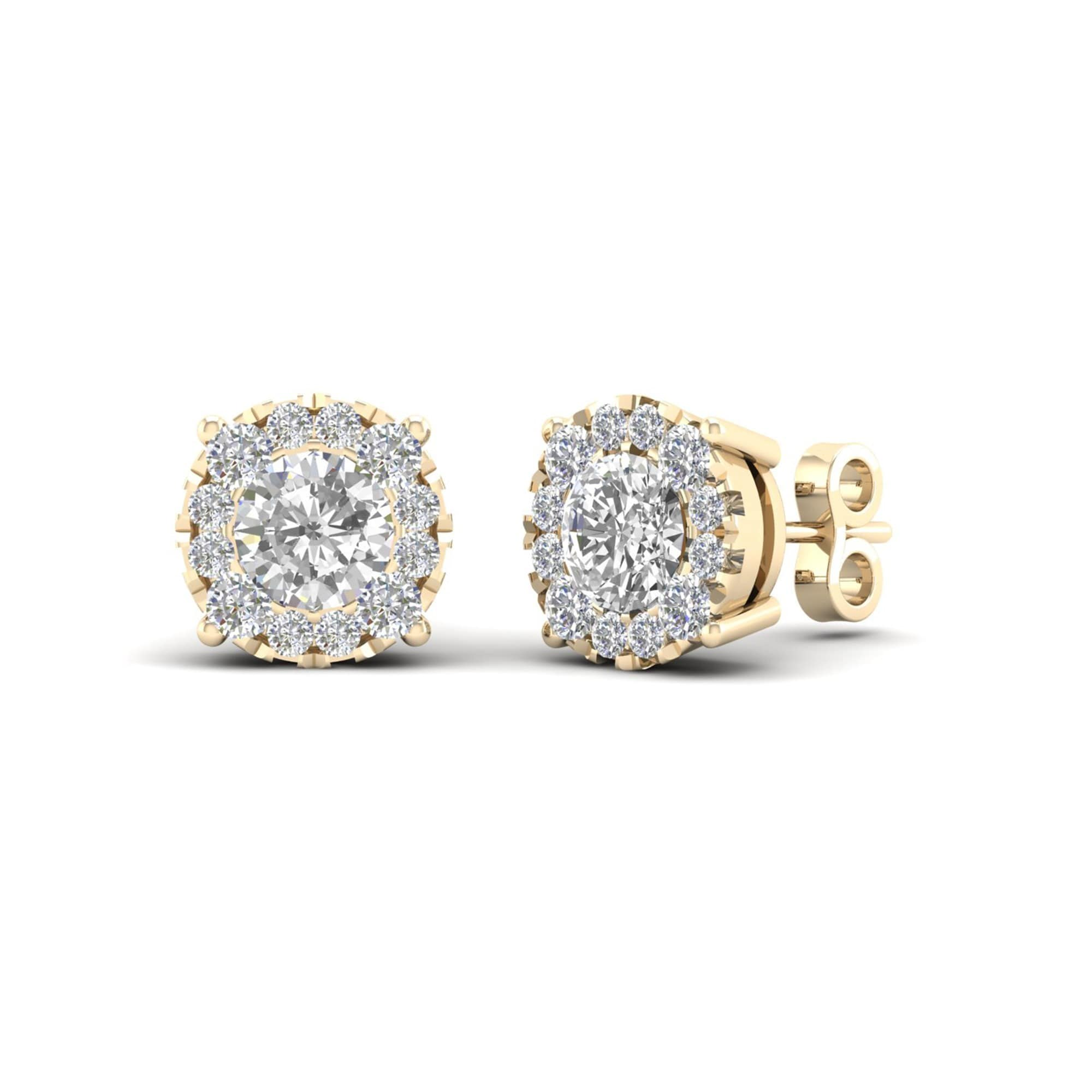 zirconia gold swarovski amazon earrings round cttw set studs with white cut earring com stud jewelry dp