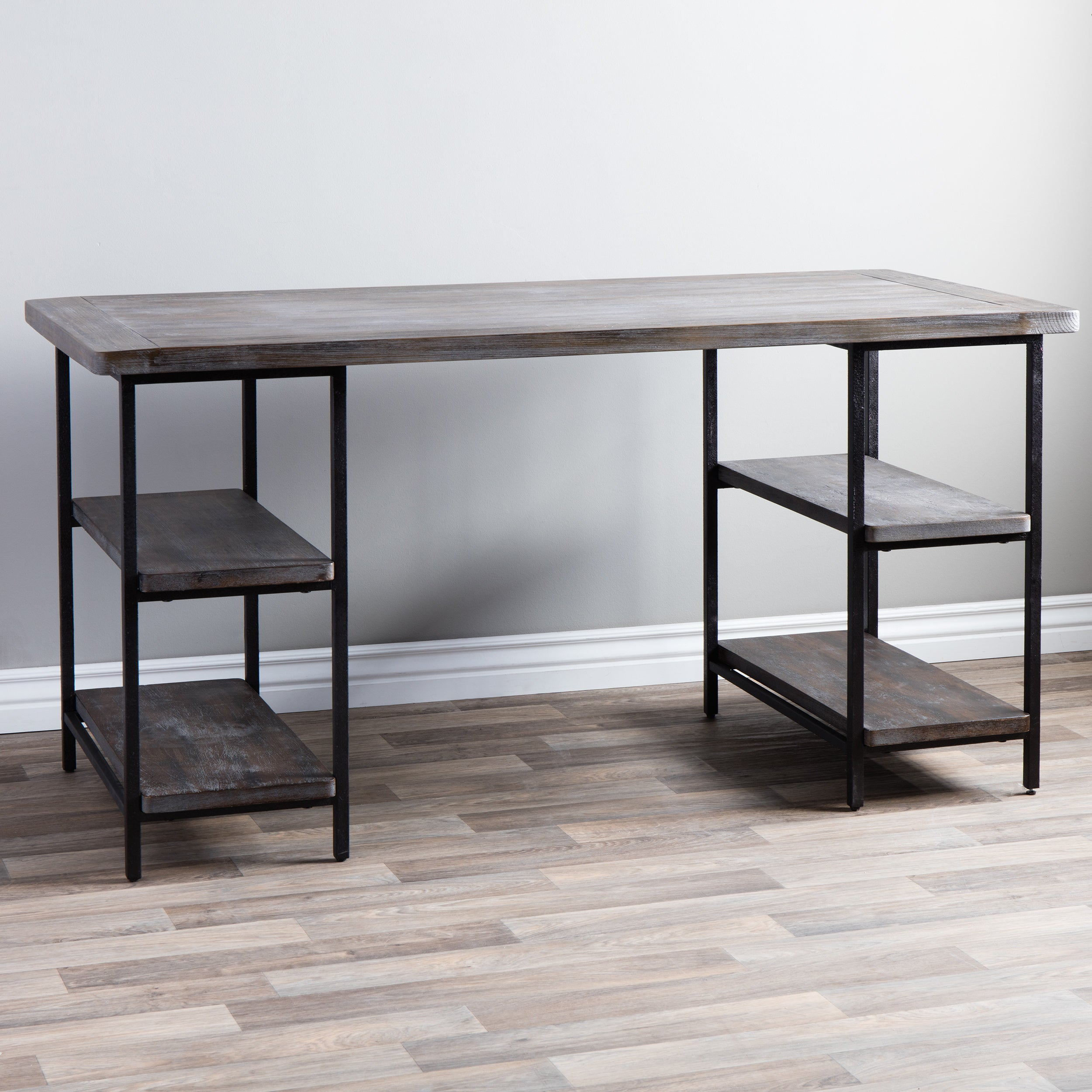 Shop Stones U0026 Stripes Renate Reclaimed Wood And Metal Office Desk   Free  Shipping Today   Overstock.com   6382180