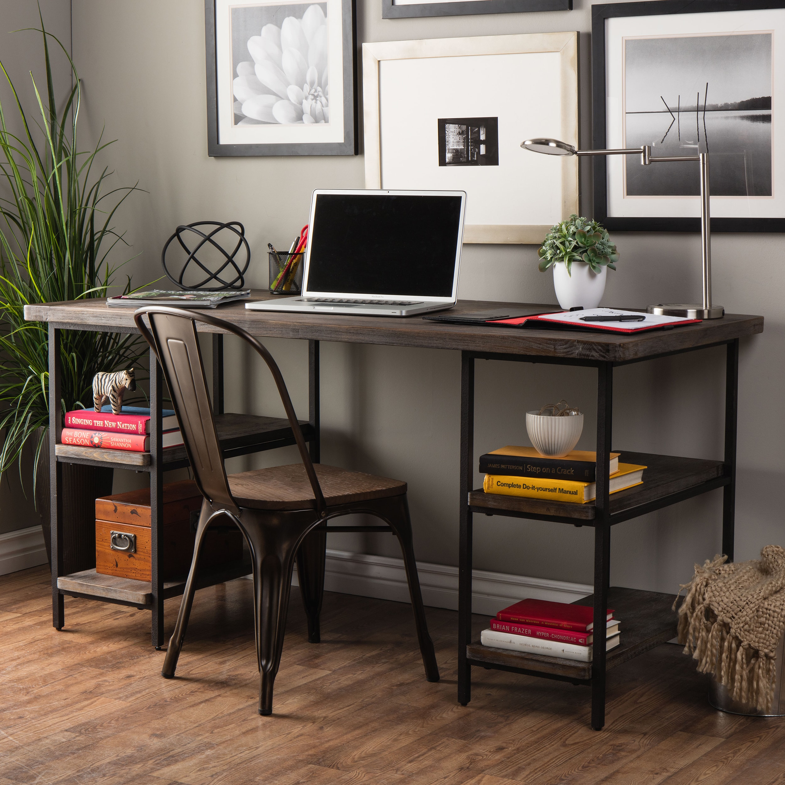 Beau Shop Stones U0026 Stripes Renate Reclaimed Wood And Metal Office Desk   Free  Shipping Today   Overstock.com   6382180