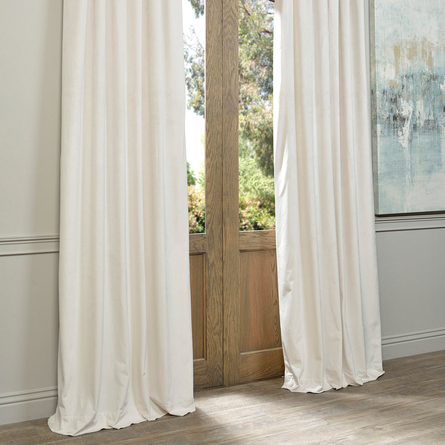 Exclusive Fabrics Signature f White Velvet Blackout Curtain Panel