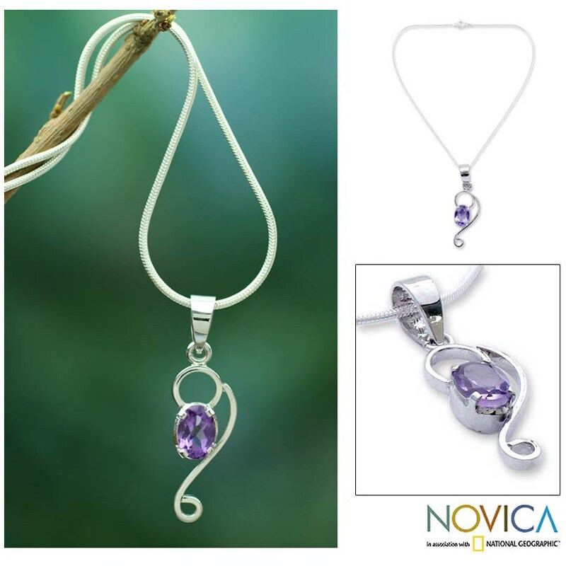 Handmade Sterling Silver 'Spiritual Love' Amethyst Necklace (India) - Purple