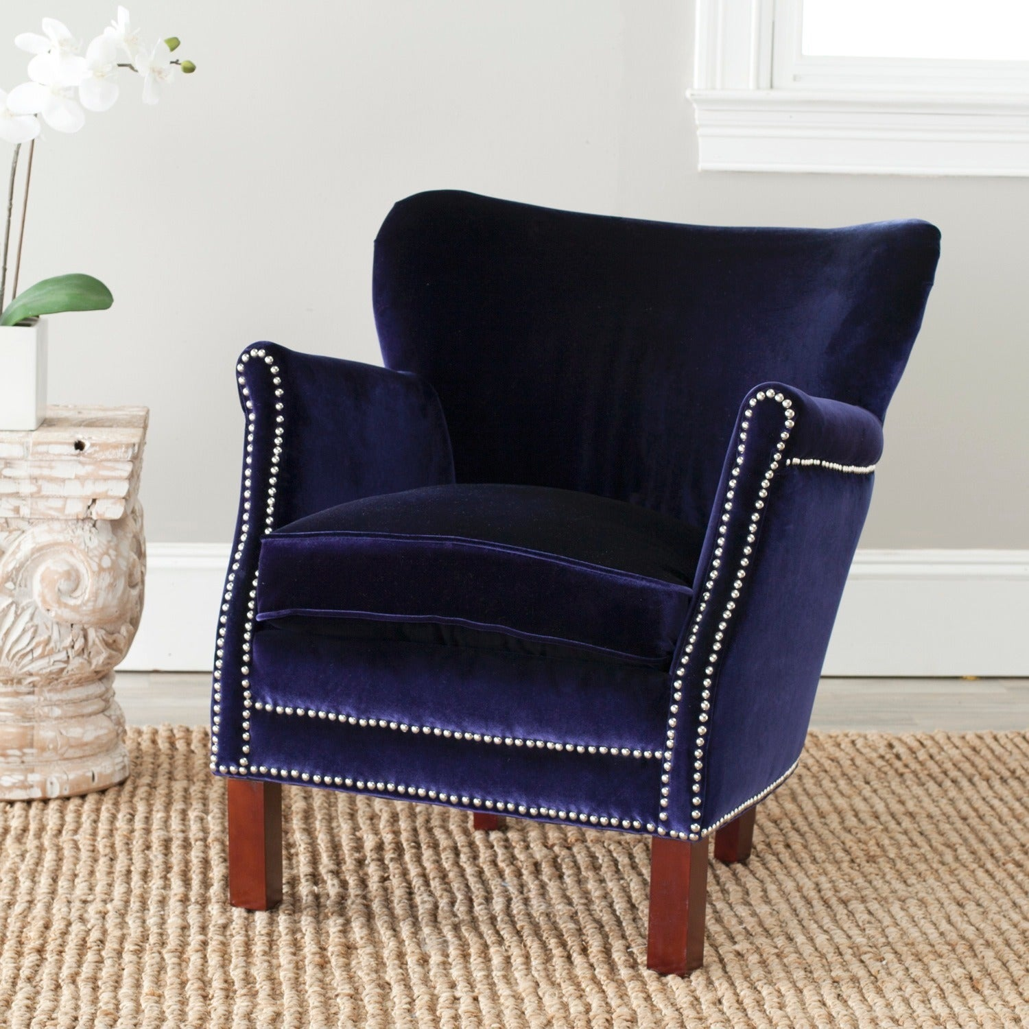 Safavieh Posh Royal Blue Arm Chair   Free Shipping Today   Overstock    14000629