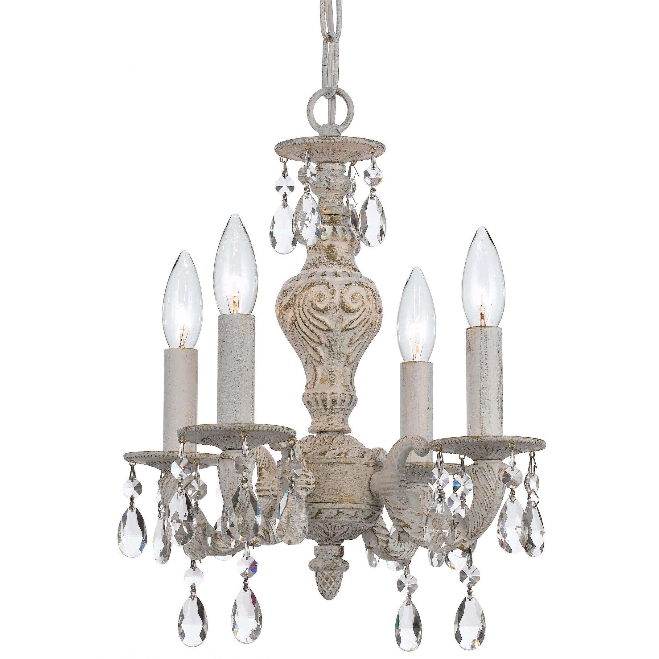 Crystorama Sutton Collection 4 light Antique White Chandelier