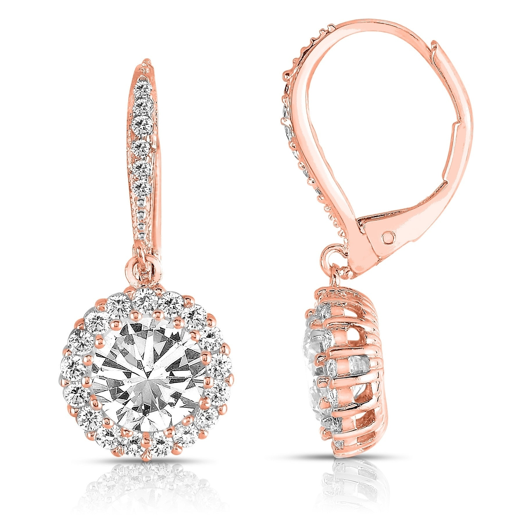 Collette Z Sterling Silver Round Cut Cubic Zirconia Halo Drop Earrings On Free Shipping Orders Over 45 6391650