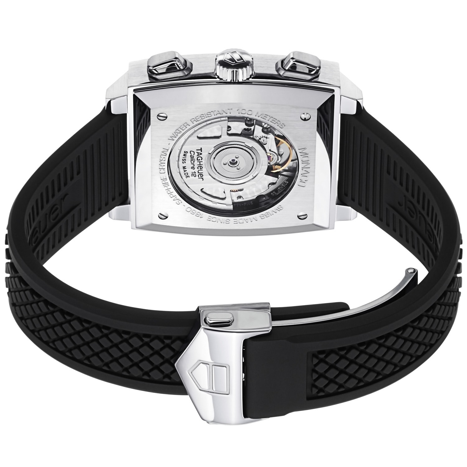 33a88d3e9aab1 Shop Tag Heuer Men s CAW2114.FT6021  Monaco  Black Dial Black Rubber Strap  Watch - Free Shipping Today - Overstock - 6393473