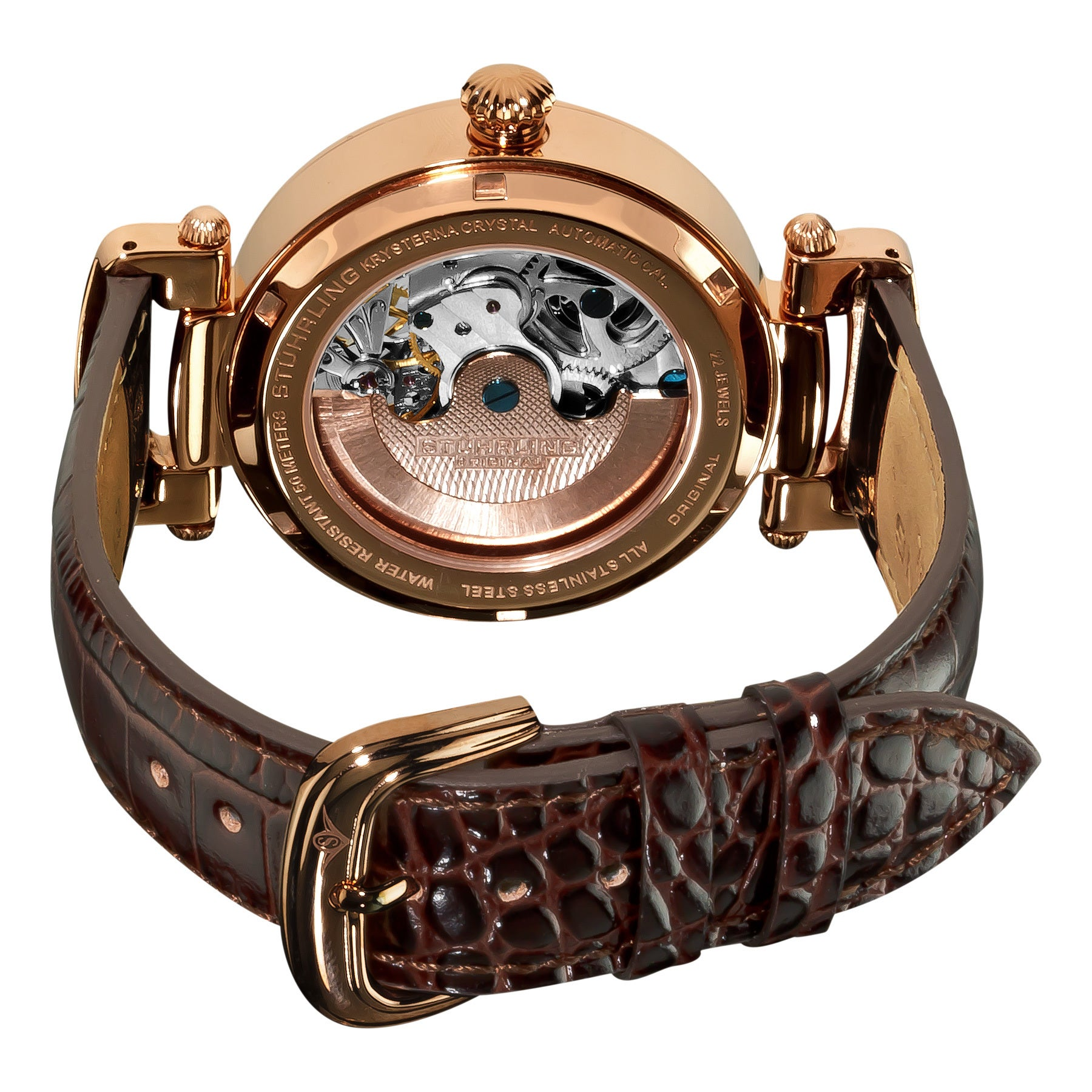 a2d222087 Shop Stuhrling Original Men's Magistrate Rosetone Skeleton Automatic Watch  with Brown leather Strap - multi - Free Shipping Today - Overstock - 6393791