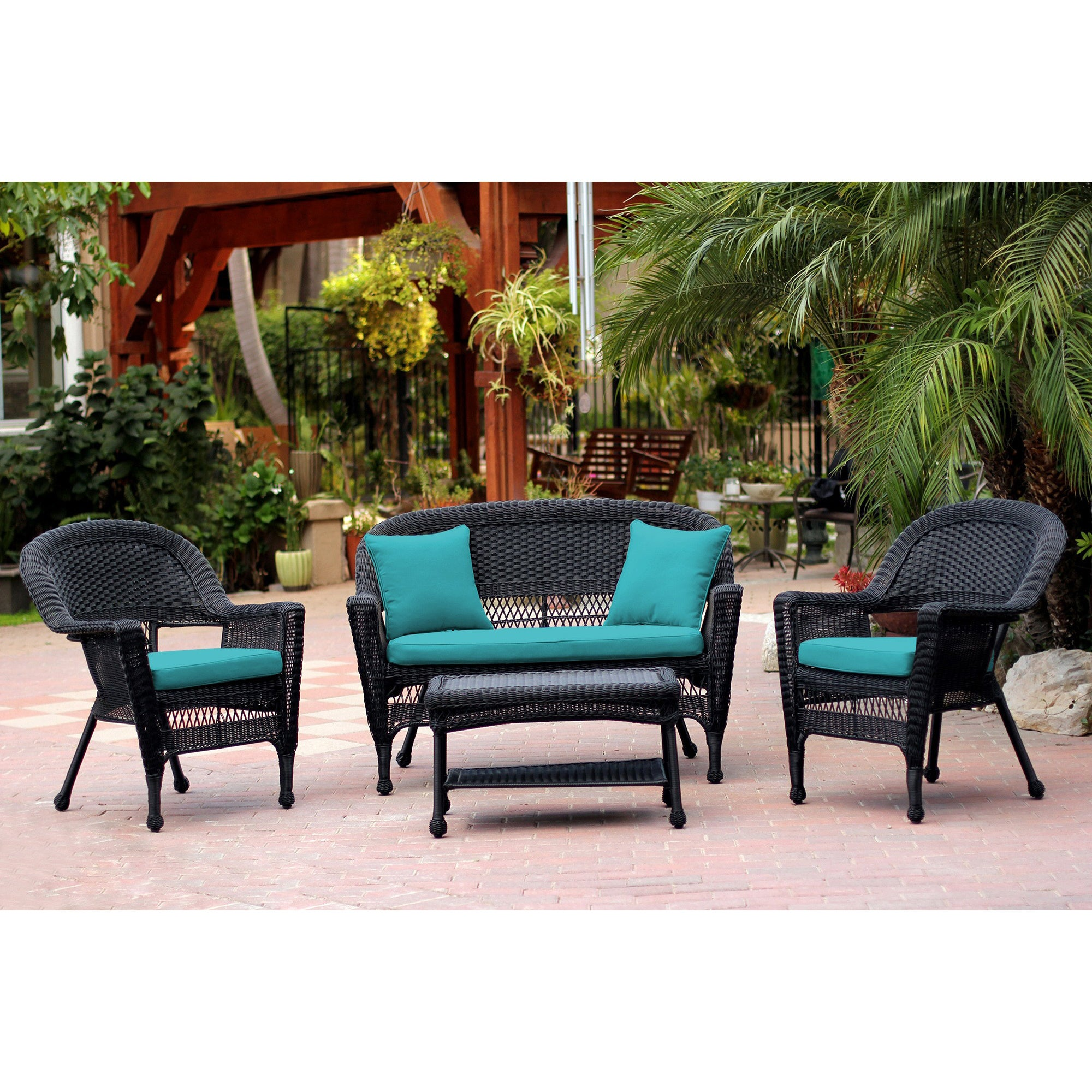 Black Wicker 4 piece Patio Conversation Set Free Shipping Today