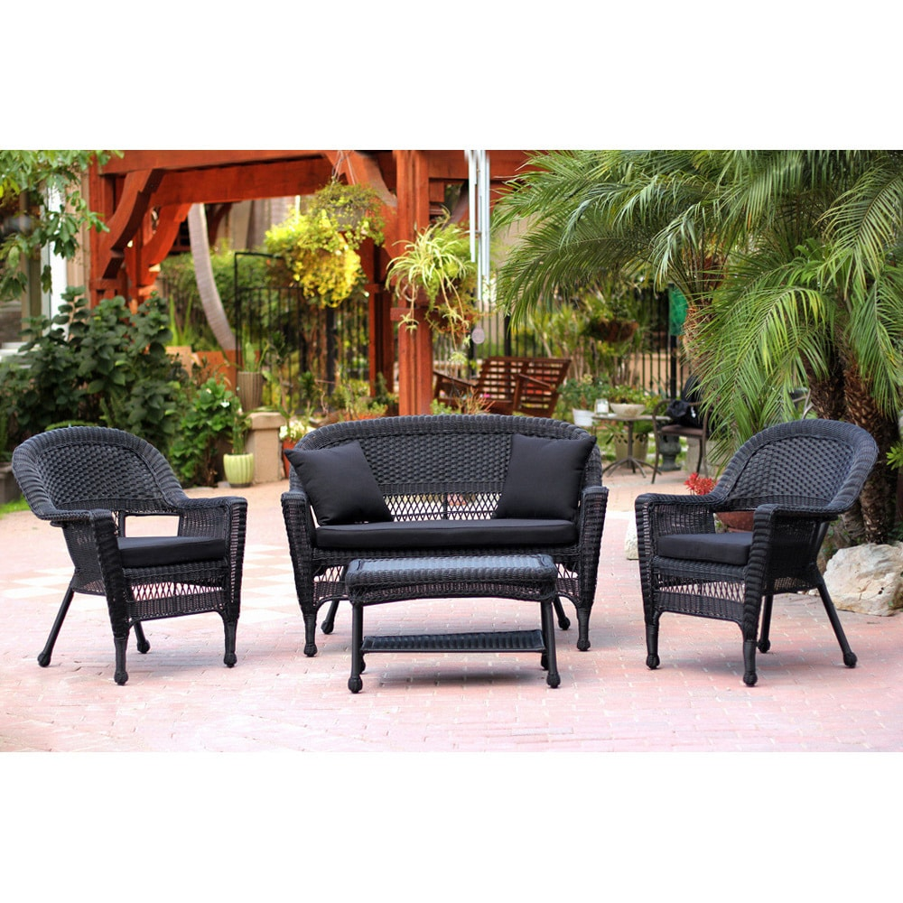 Shop Black Wicker 4 Piece Patio Conversation Set   Free Shipping Today    Overstock.com   6393955