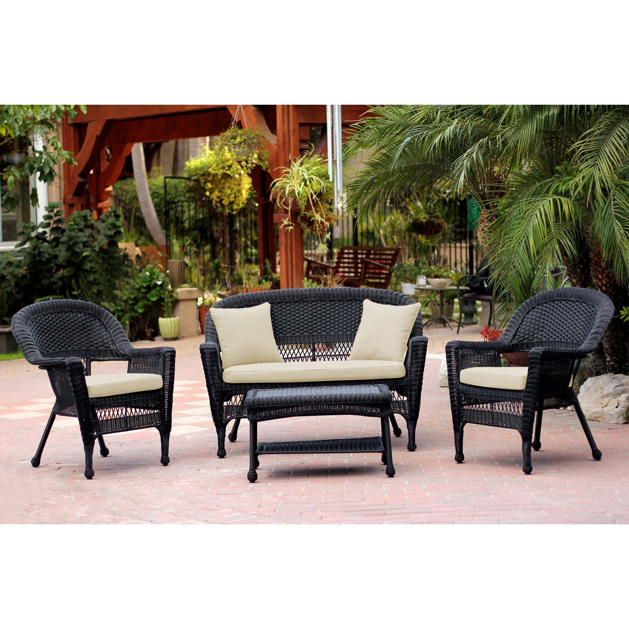 Black Wicker 4 Piece Patio