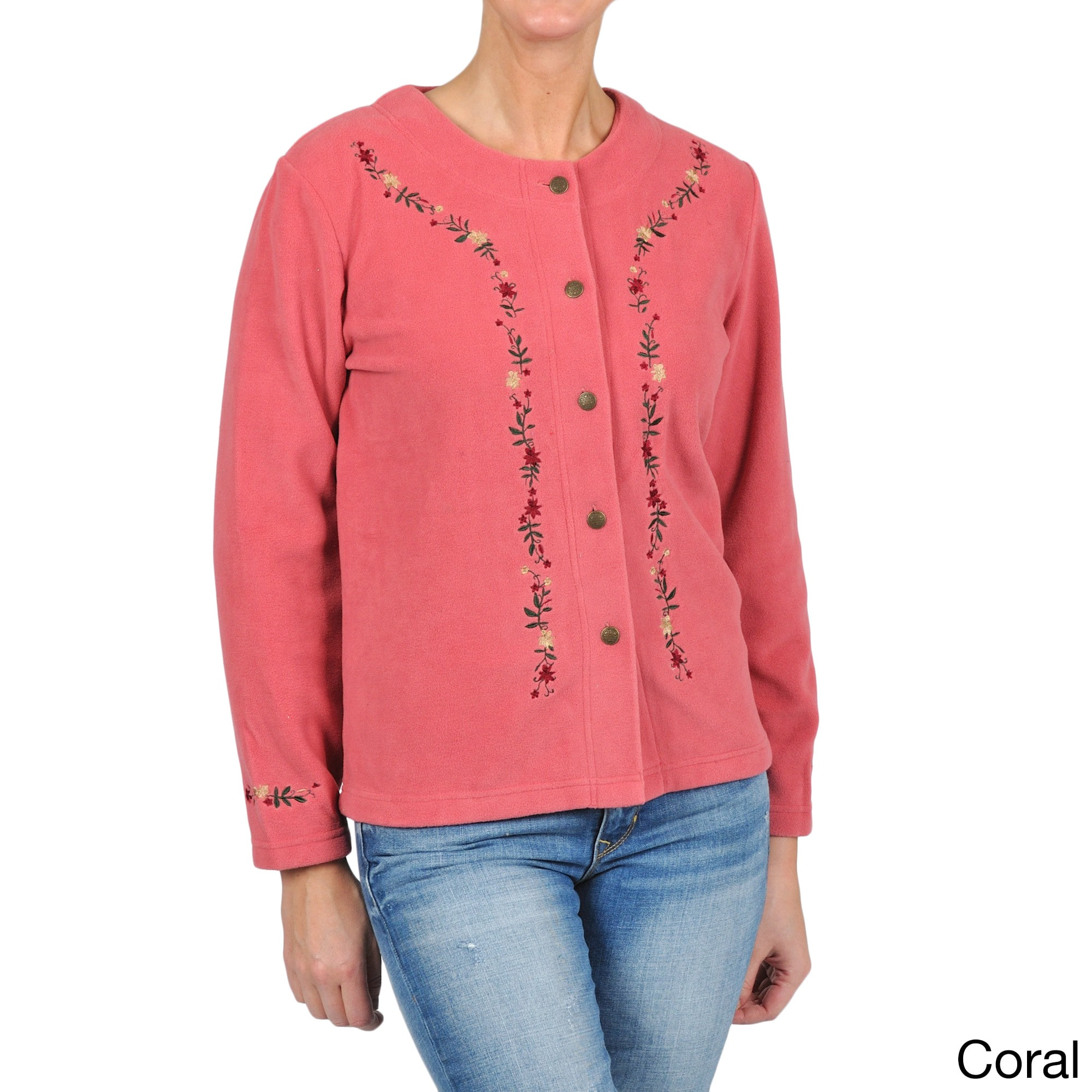 La Cera Women's Embroidered Fleece Jacket - Free Shipping On Orders Over  $45 - Overstock.com - 14006010