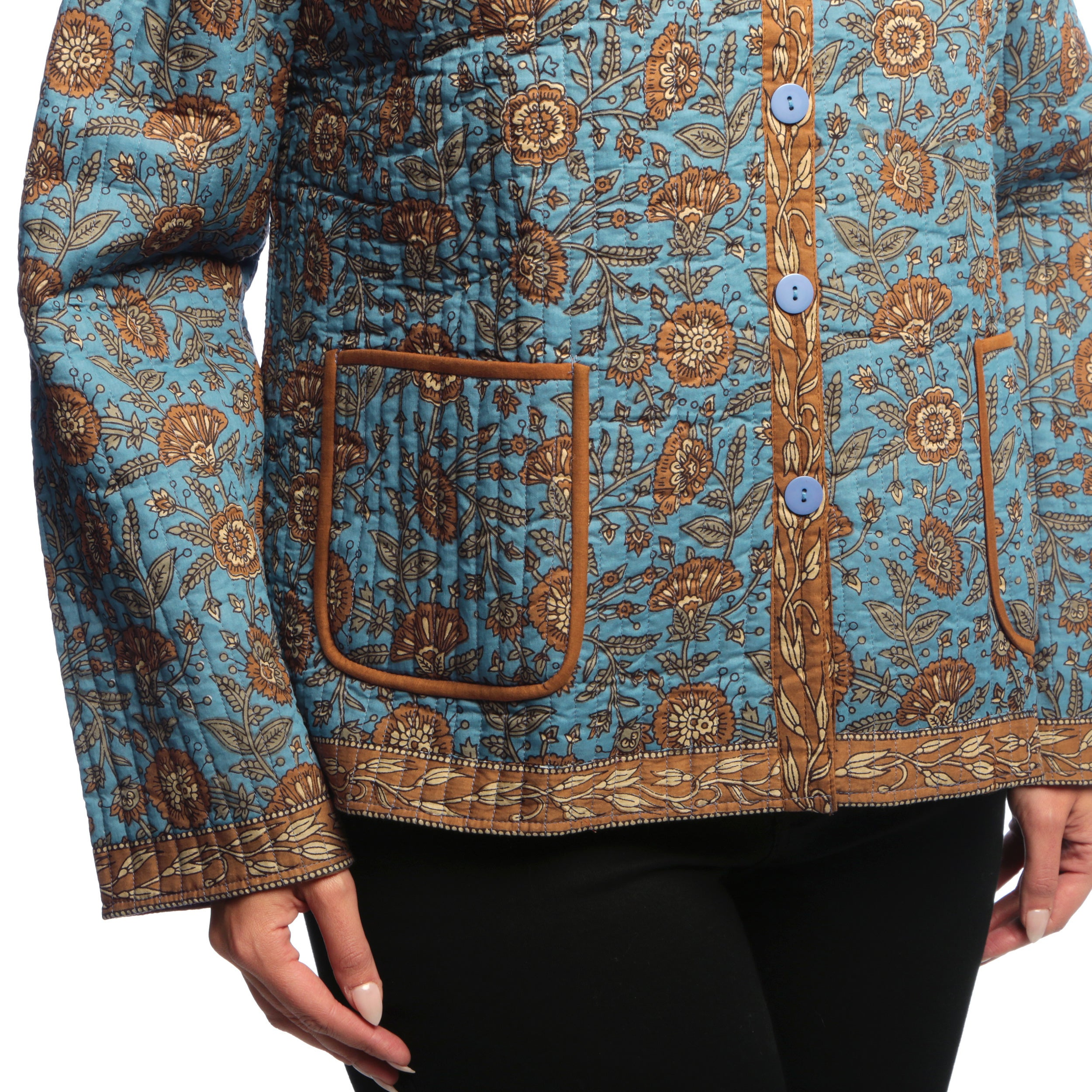 d63a036fec9 Shop La Cera Women s Plus Size Quilted Floral-Print Mandarin Collar Jacket  - Free Shipping Today - Overstock - 6394456