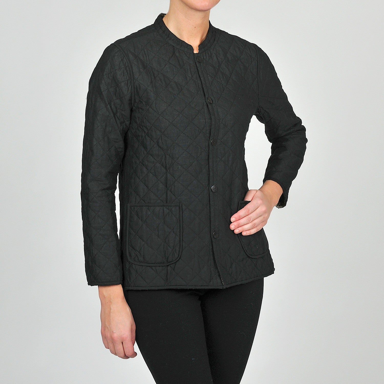 05ec0f60e31 Shop La Cera Women s Black Quilted Mandarin Collar Jacket - Free Shipping  Today - Overstock - 6394459