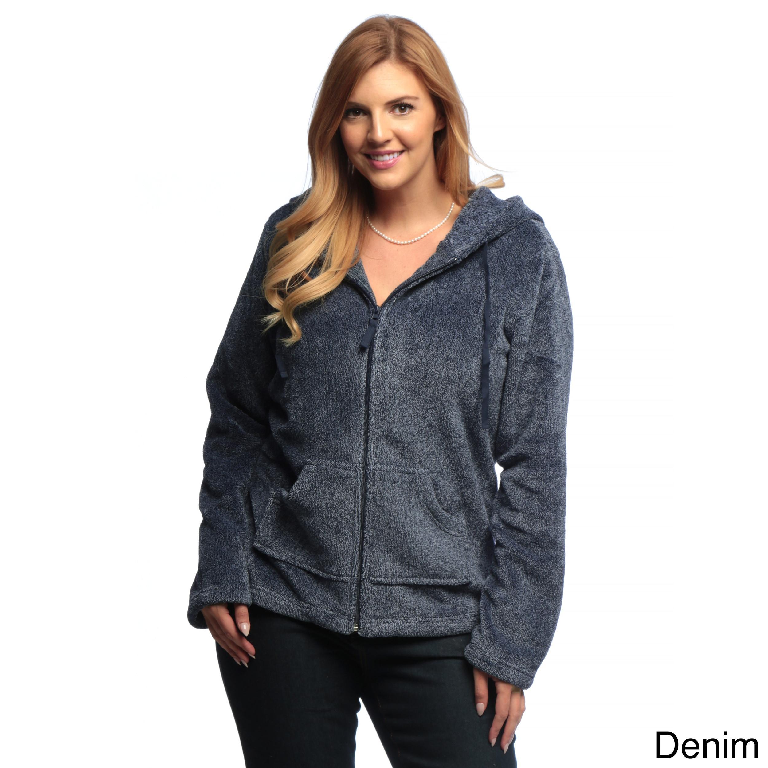 f5d4f6b20aee3 Shop La Cera Women s Plus-Size Luxury Plush Heather Fleece Hooded ...