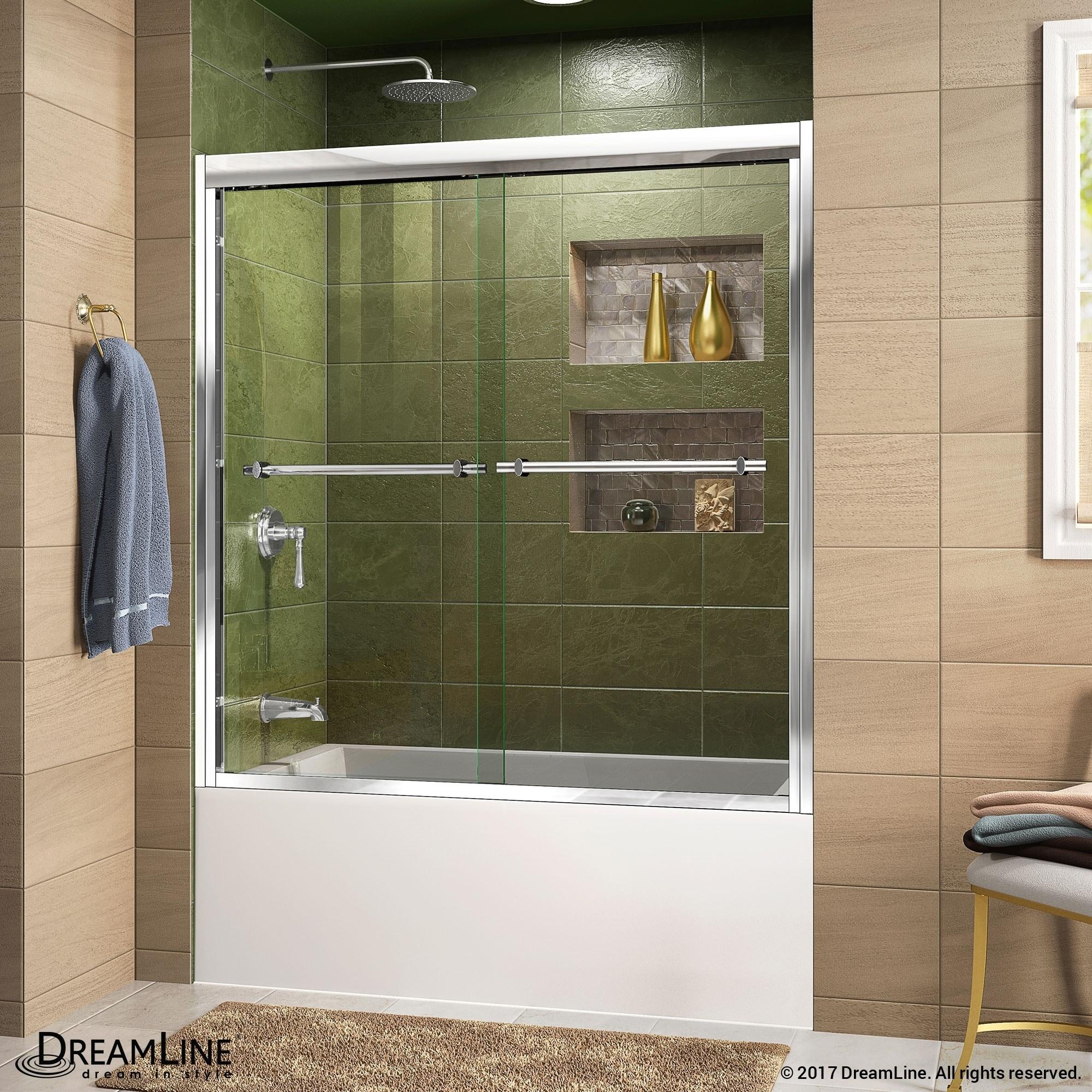 Shop Dreamline Duet 55 59 In W X 58 In H Bypass Sliding Tub Door