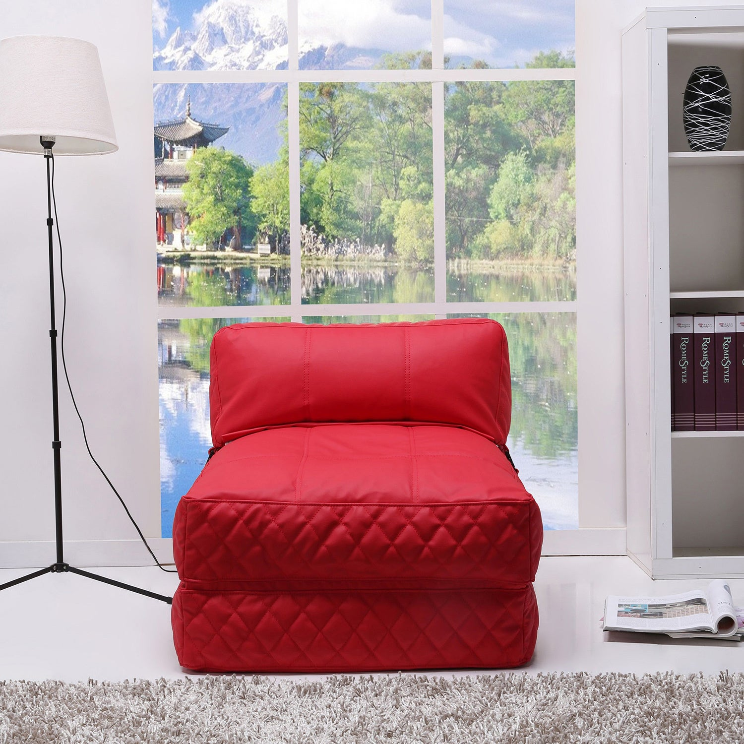 Shop Austin Red Bean Bag Chair Bed   Free Shipping Today   Overstock.com    6405268