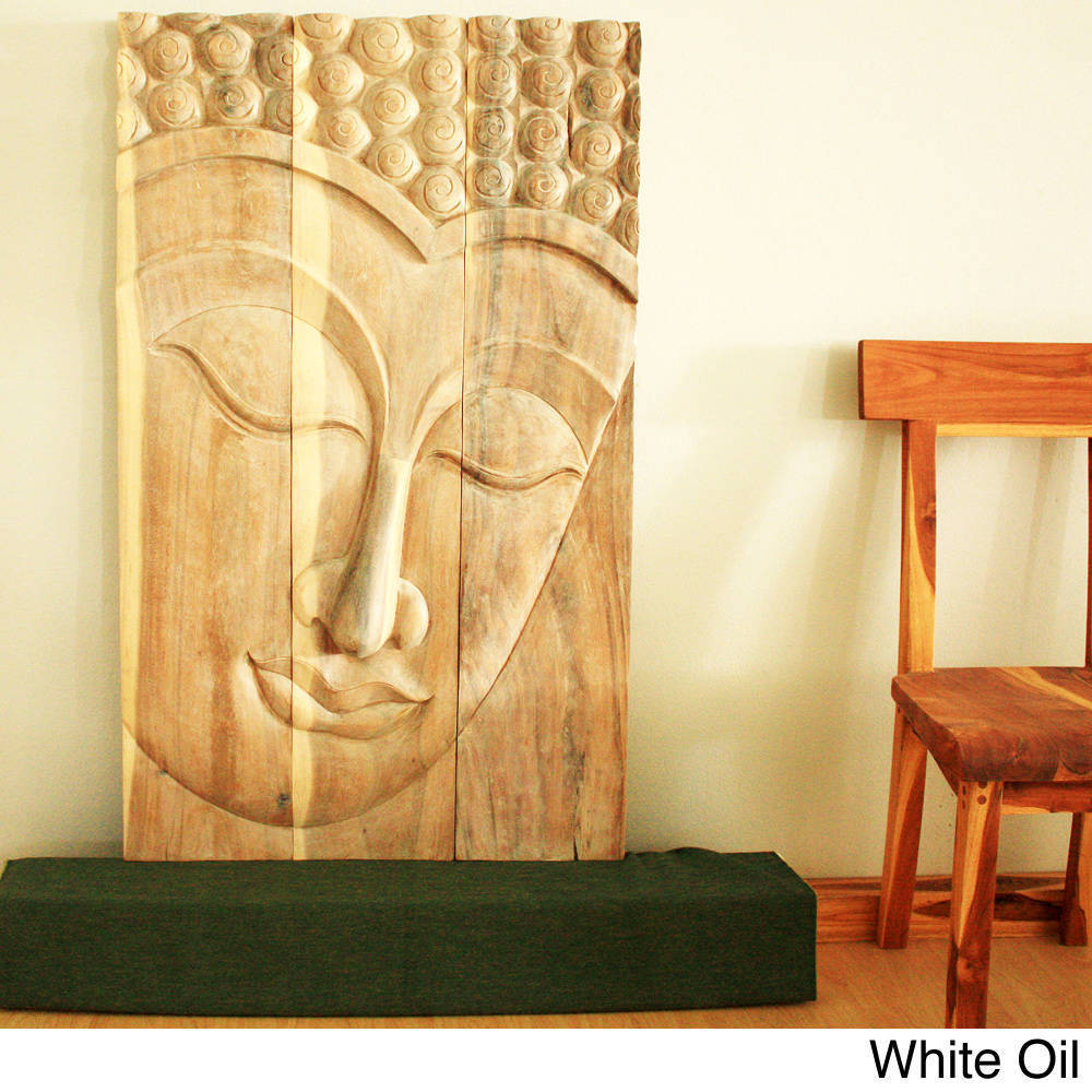 Shop Handmade 30 x 47 Walnut Oiled \'Serene Buddha\' Acacia Panel ...