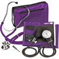 Purple Adjustable Aneroid Sphygmomanometer with Sprague Stethoscope Adult Kit