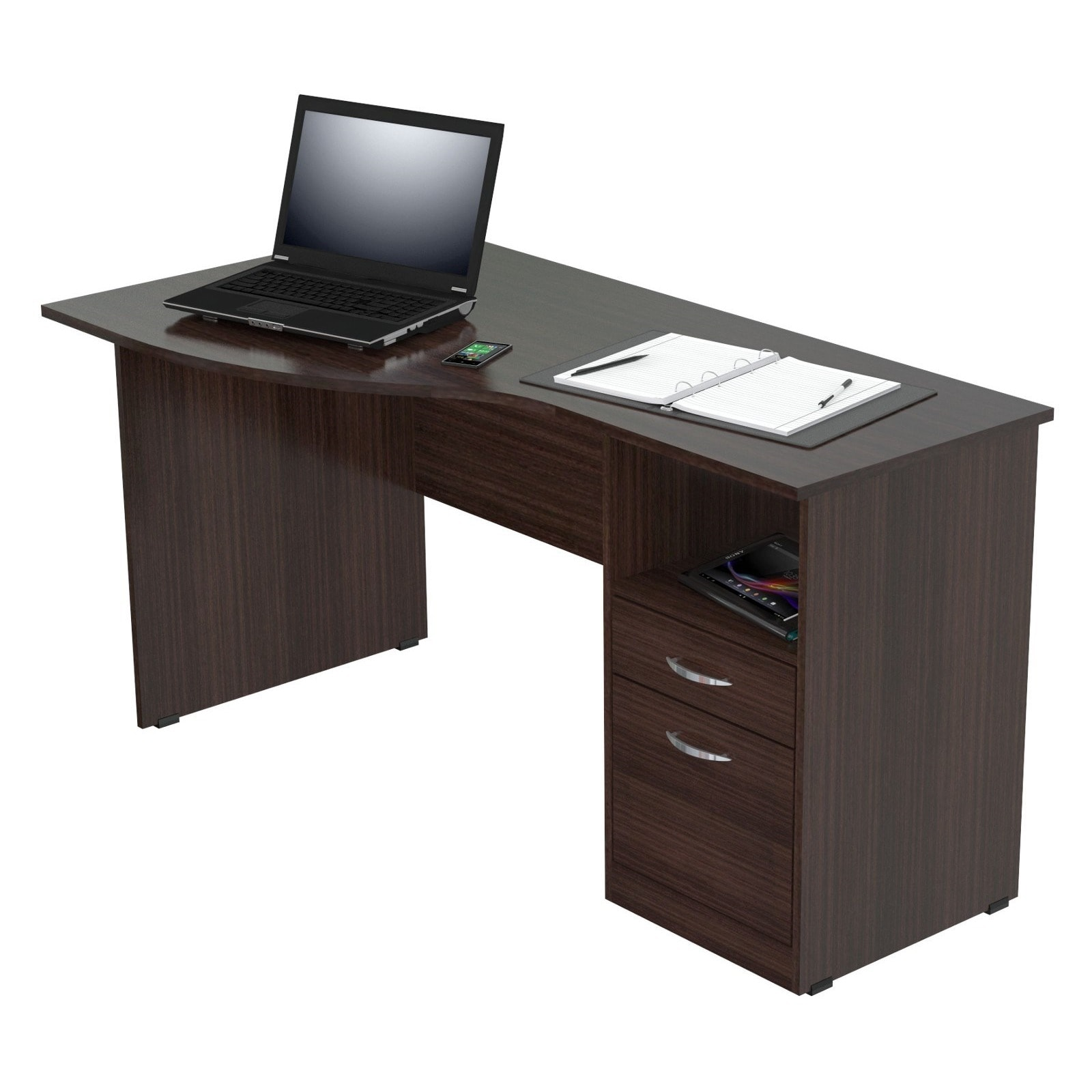 Inval Espresso Curved Top Desk Free Shipping Today 14020850