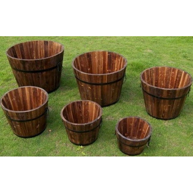 Round Cedar Wood Whiskey Barrel Planters (Set Of 6)   Free Shipping Today    Overstock.com   14030958