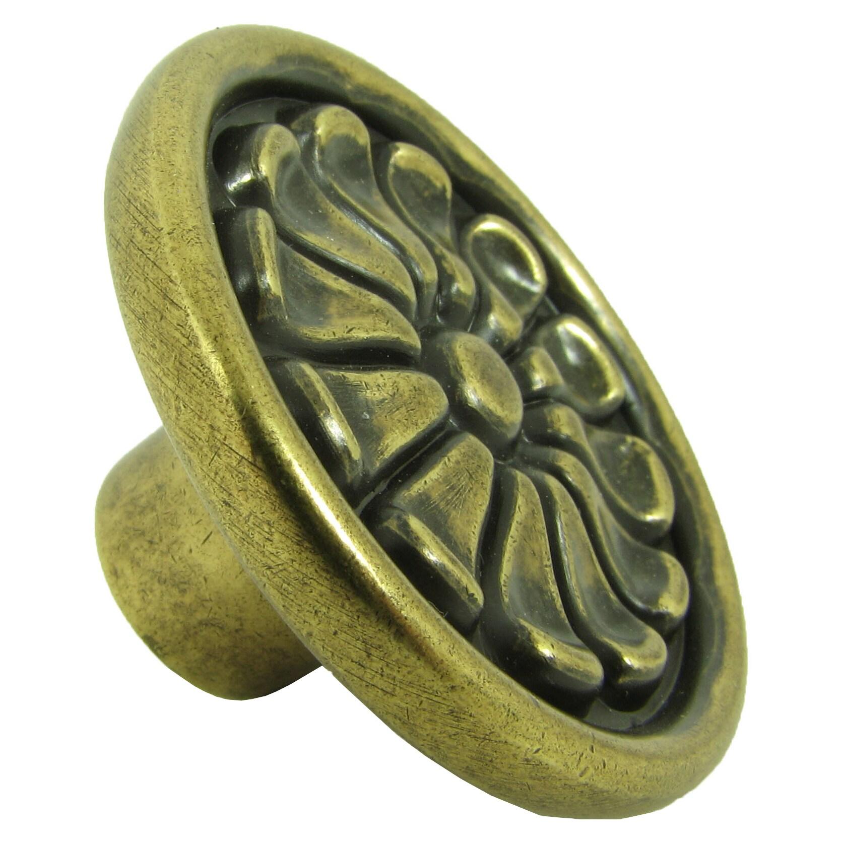 Stone Mill Hardware Aztek Brushed Antique Brass Cabinet Knobs