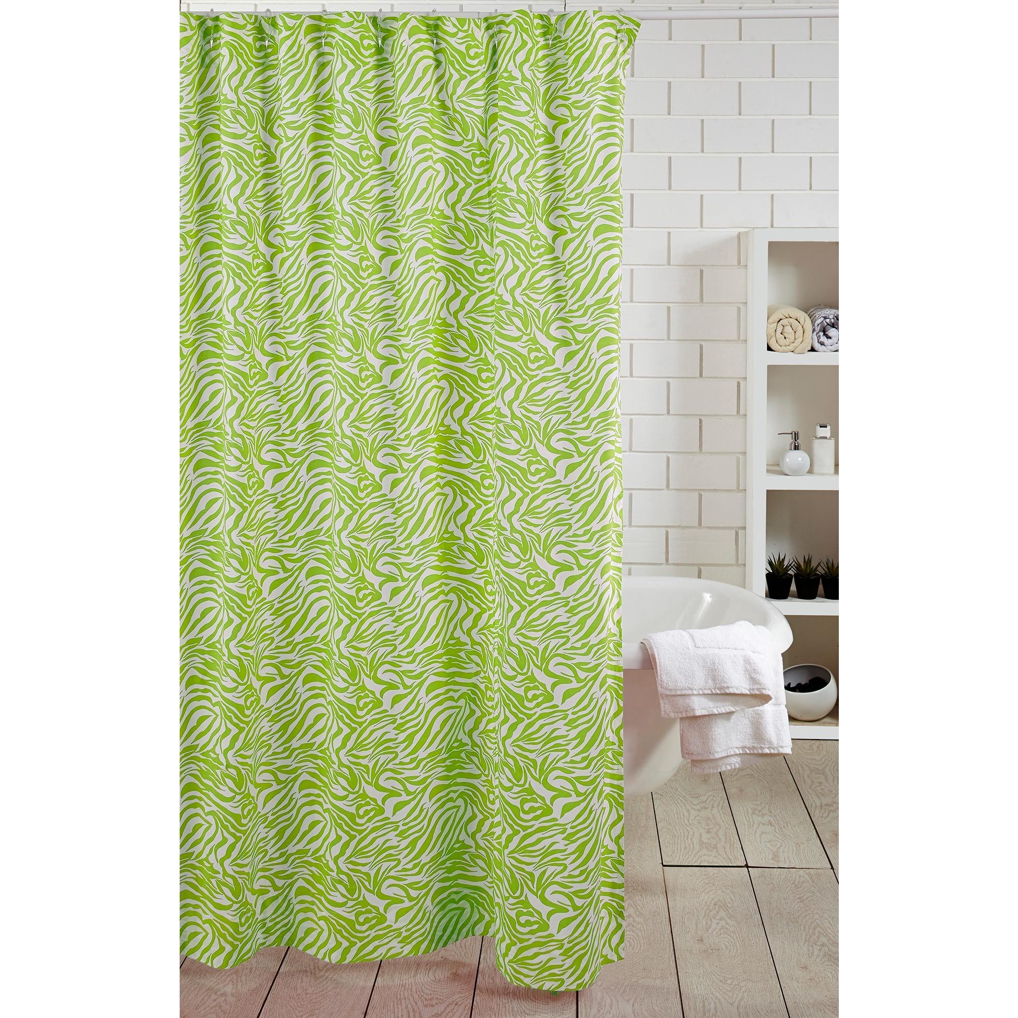 Shop Green Zebra Shower Curtain
