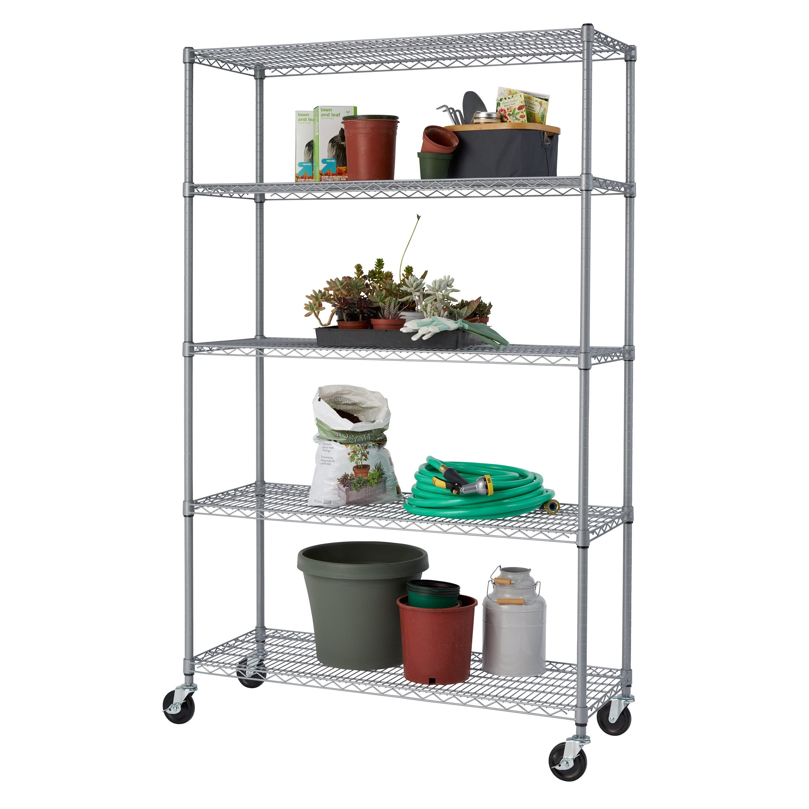 Trinity NSF Adjustable 5-Tier Outdoor Wire Shelving Rack with Wheels ...