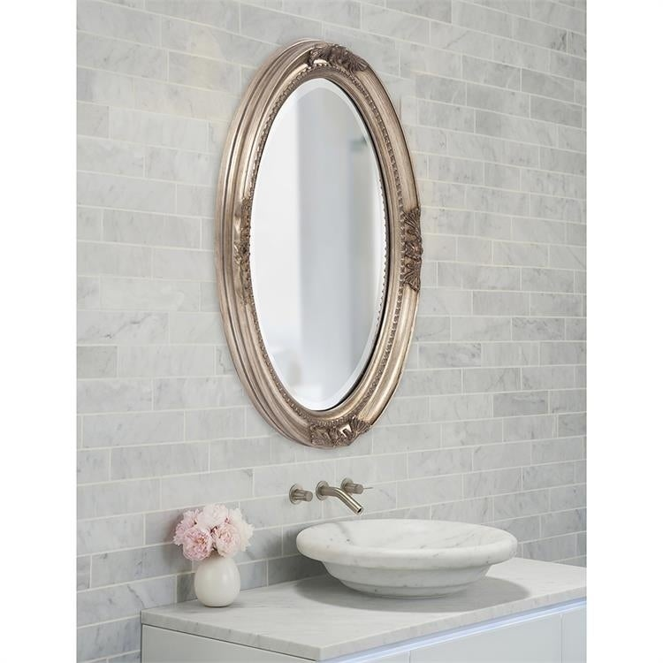Lisette Silver Wood Oval Wall Mirror