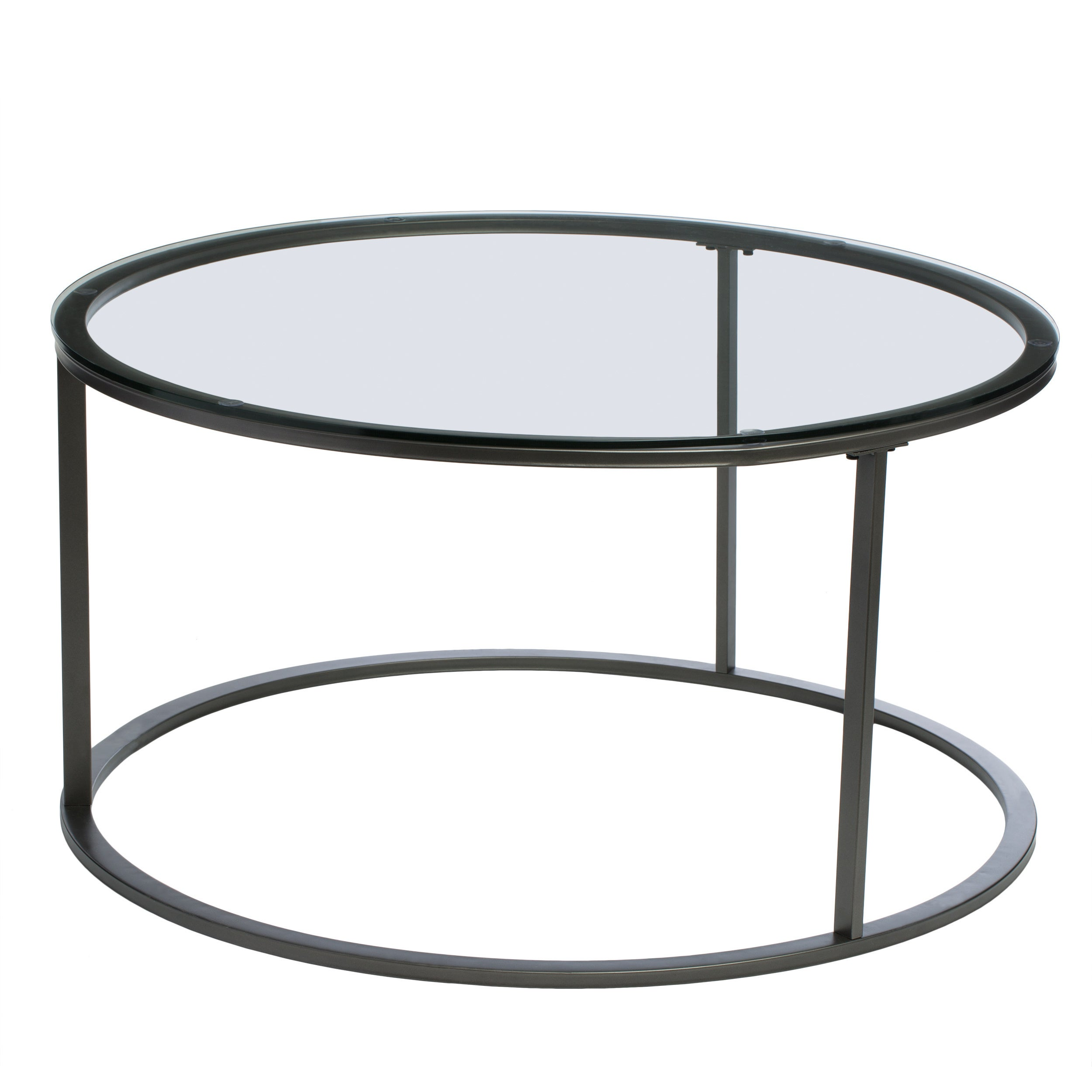 Shop Clay Alder Home Round Glass Top Metal Coffee Table   Free Shipping  Today   Overstock.com   6434389