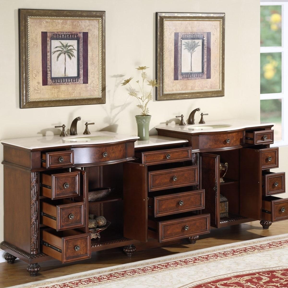 Shop Silkroad Exclusive English Chestnut Inch Stone Top Double - 90 inch bathroom vanity