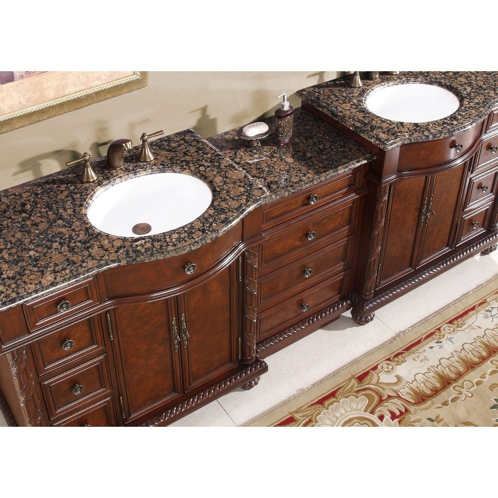 Silkroad Exclusive English Chestnut 90 Inch Stone Top Double Sink Bathroom Vanity Free Shipping Today 6436048