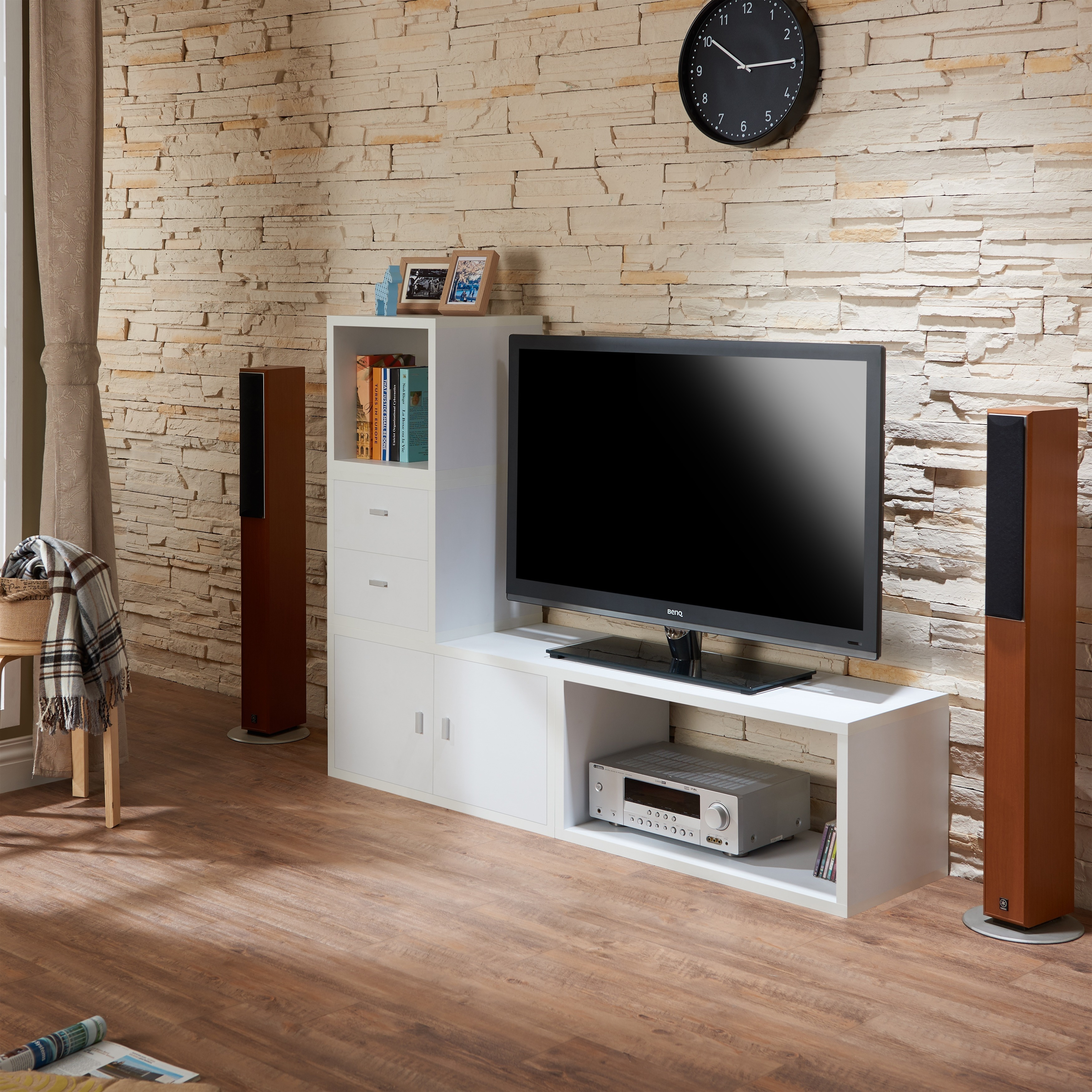 Furniture of america allure modular storage cabinet in white set of 4