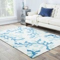 Coral Sea Handmade Abstract White/ Blue Area Rug (2' X 3')