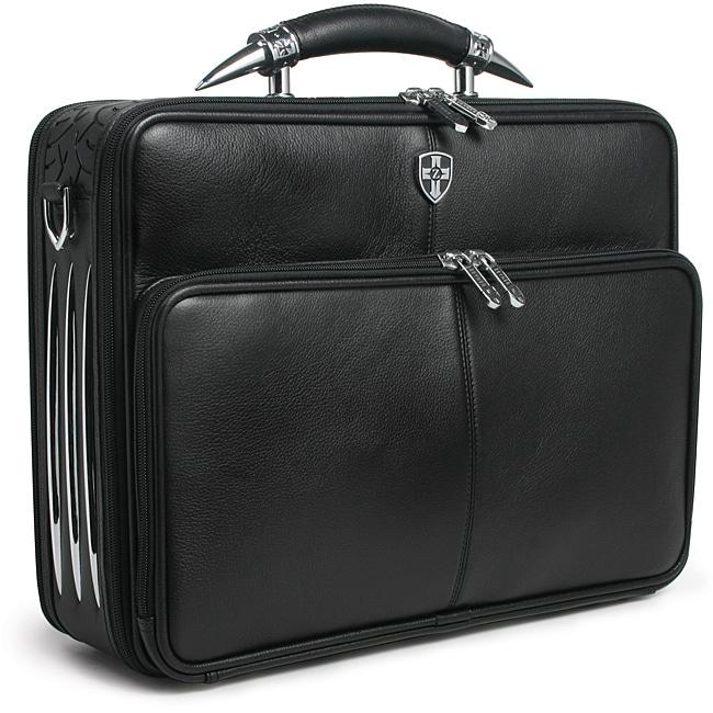 Zeyner Leather Bullhorn Top-Zip 17-inch Laptop Briefcase 56305bb4756e8