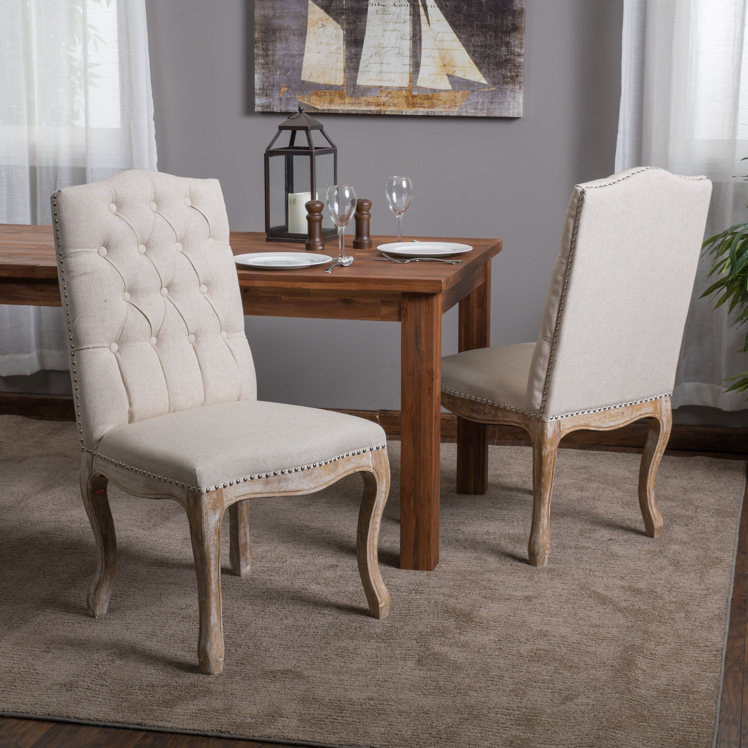 Weathered hardwood studded beige dining chair by christopher knight home set of 2