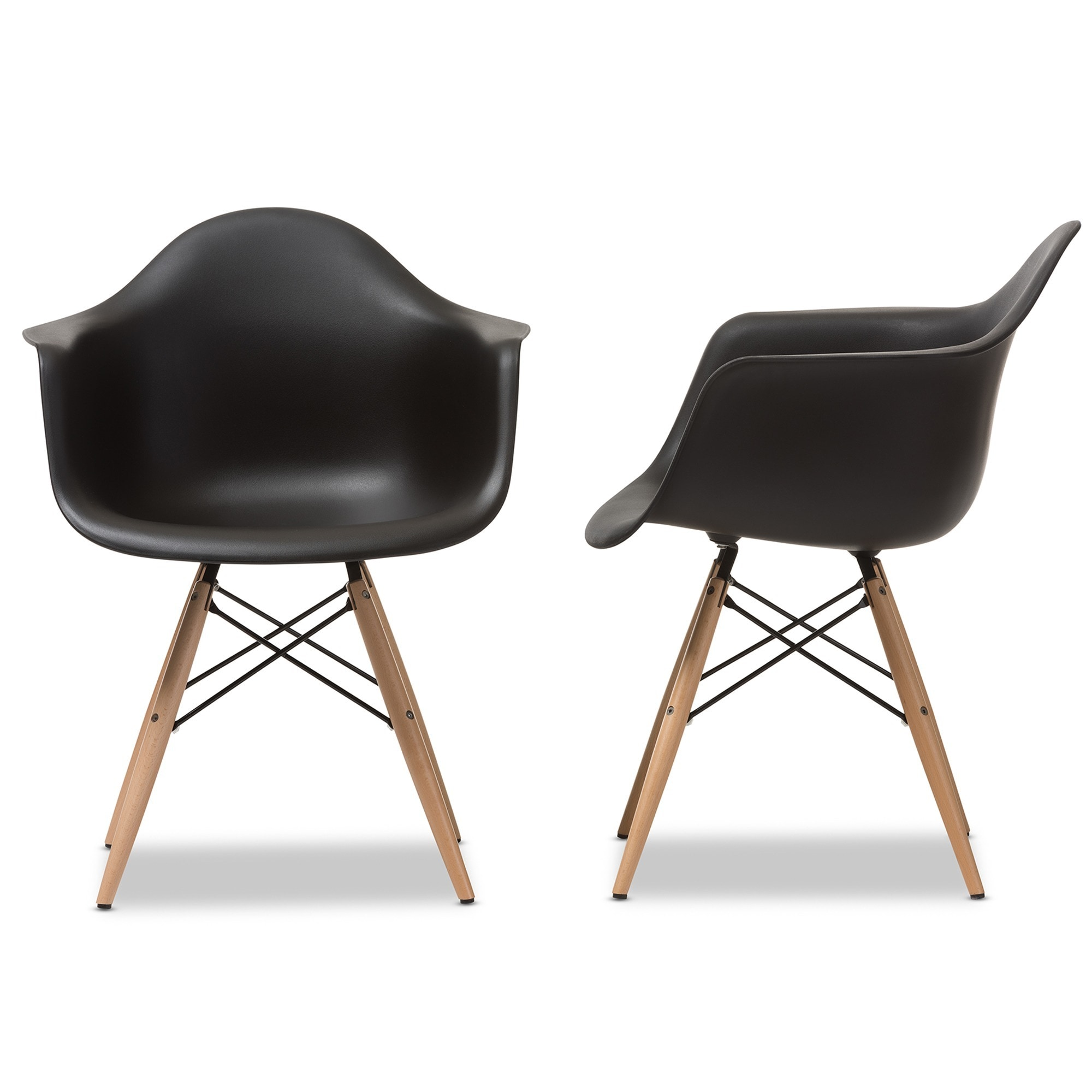 shop pascal black plastic mid century modern shell chair set of 2