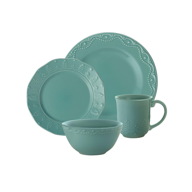 Shop Paula Deen Whitaker Aqua 16-piece Dinnerware Set - Free ...
