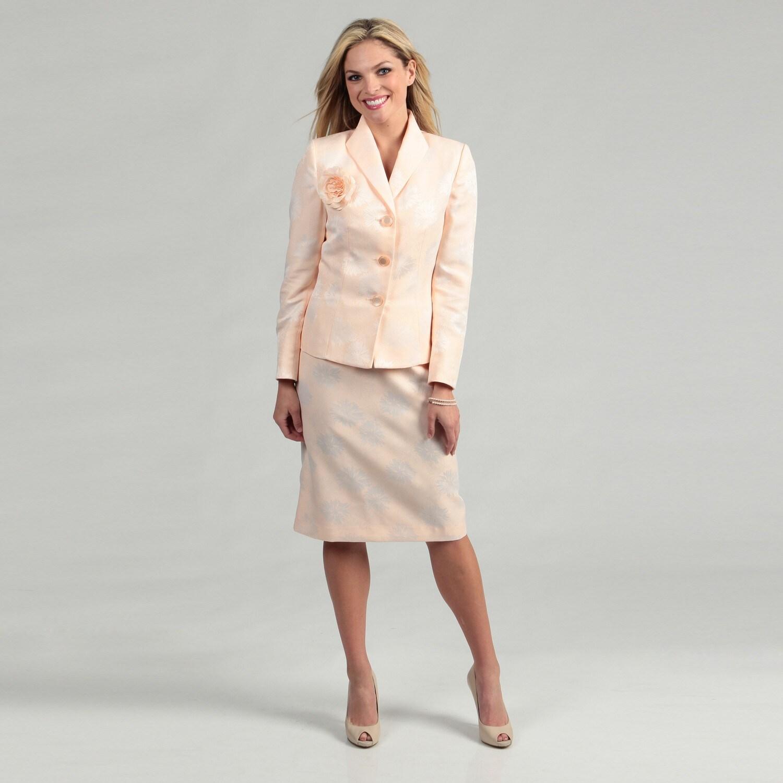 Shop Le Suit Women S Peach White Floral Skirt Suit Free Shipping