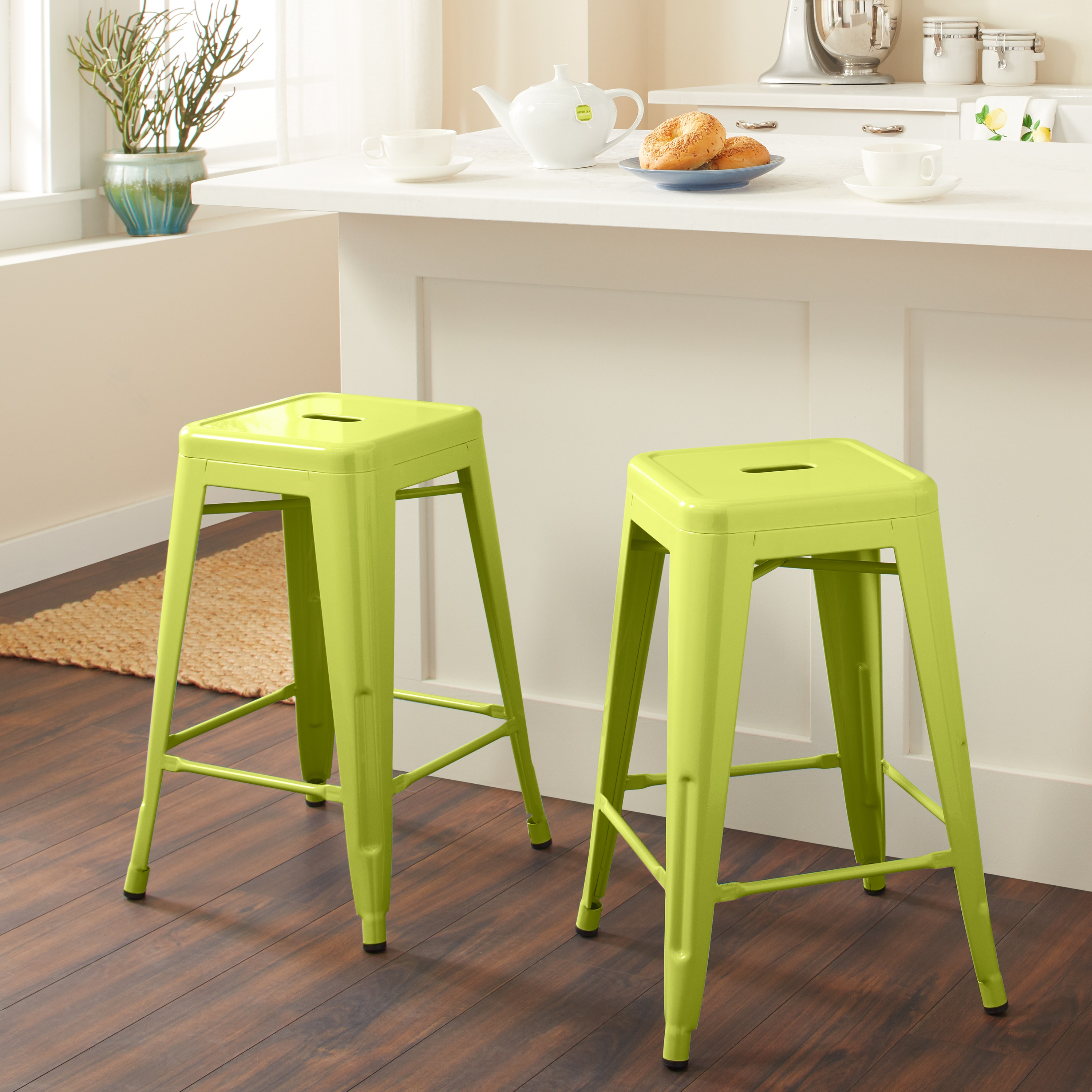 Shop tabouret 24 inch limeade metal counter stools set of 2 free shipping today overstock com 6459285