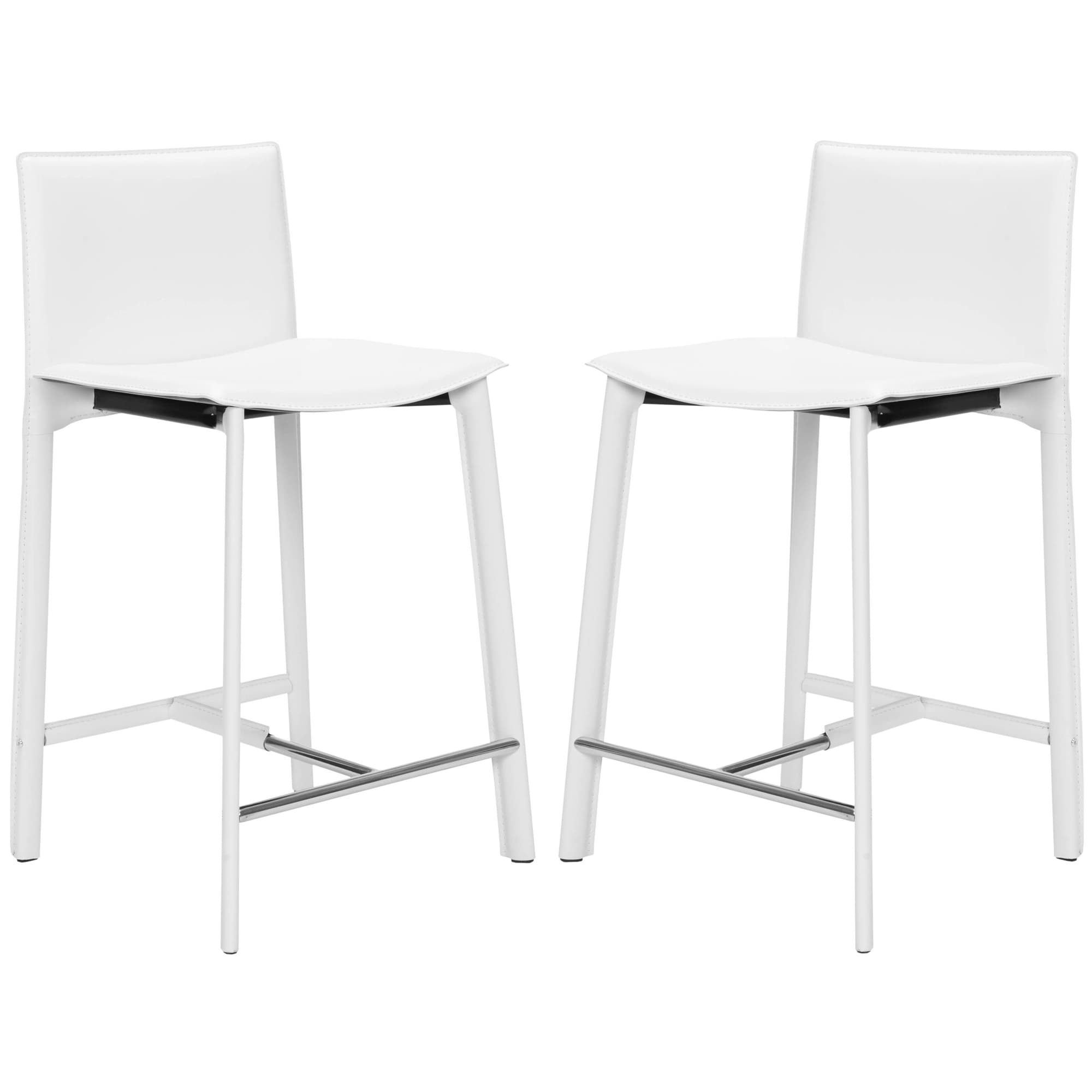 Shop safavieh mid century 24 6 inch madison ave white counter stool set of 2 on sale free shipping today overstock com 6459336