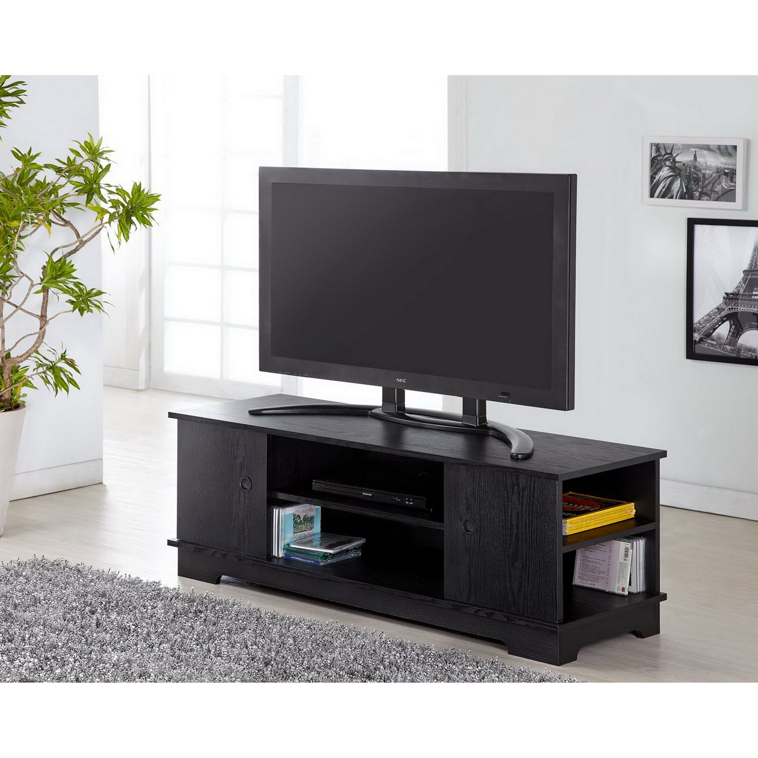 Furniture Of America Colbie Modern TV Cabinet In Black   Free Shipping  Today   Overstock   14059976