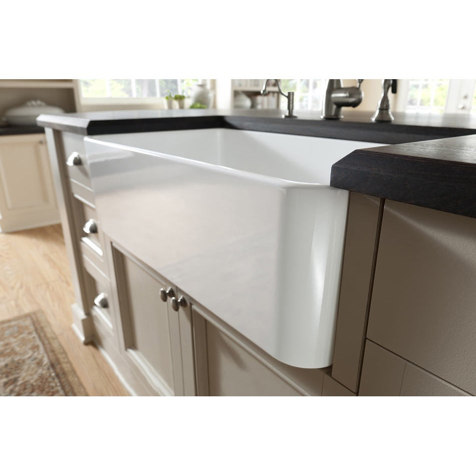 Shop large white fireclay apron front 29 5 inch farmhouse kitchen sink free shipping today overstock com 6467219