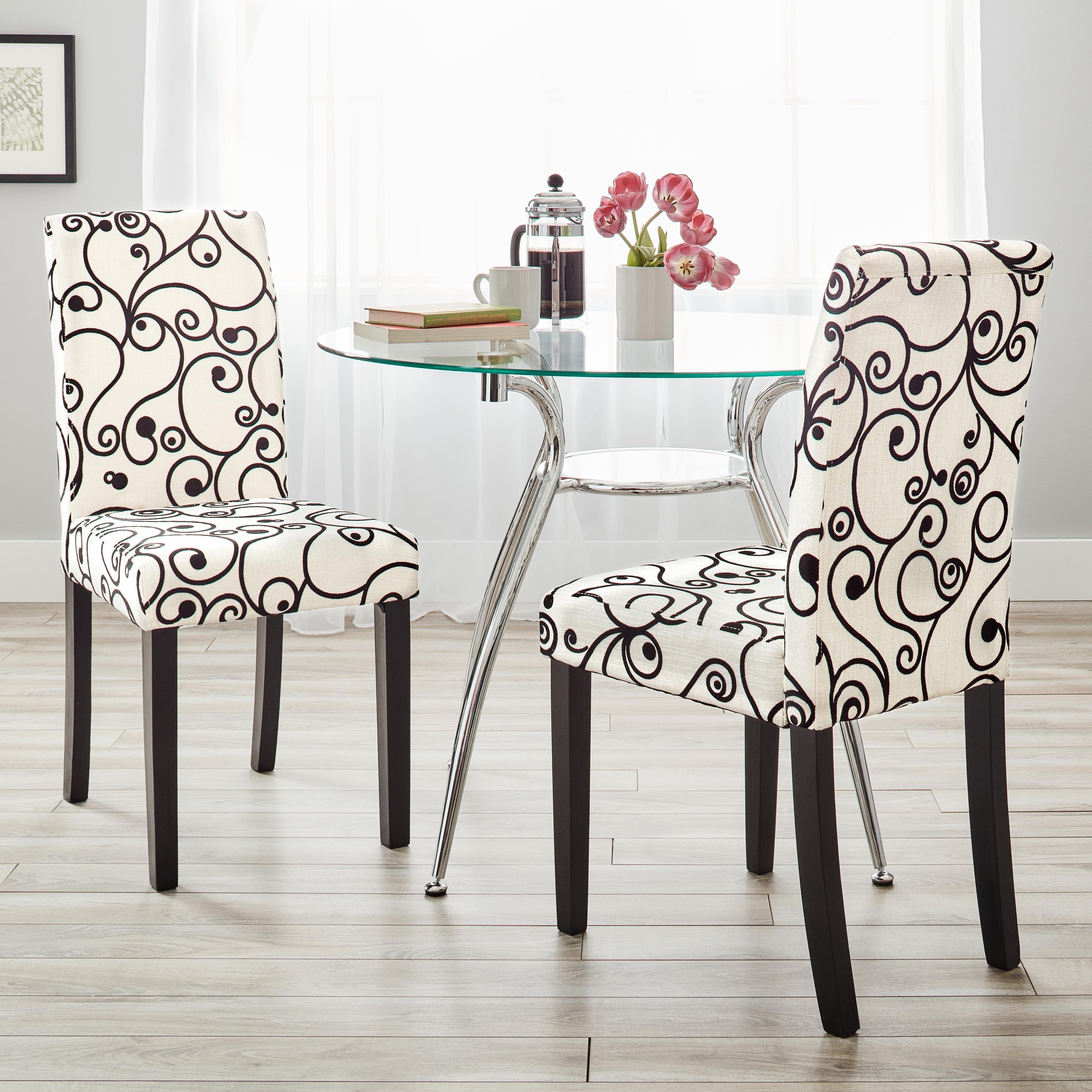 Simple living parson cream and black rubber wood dining chairs set of 2