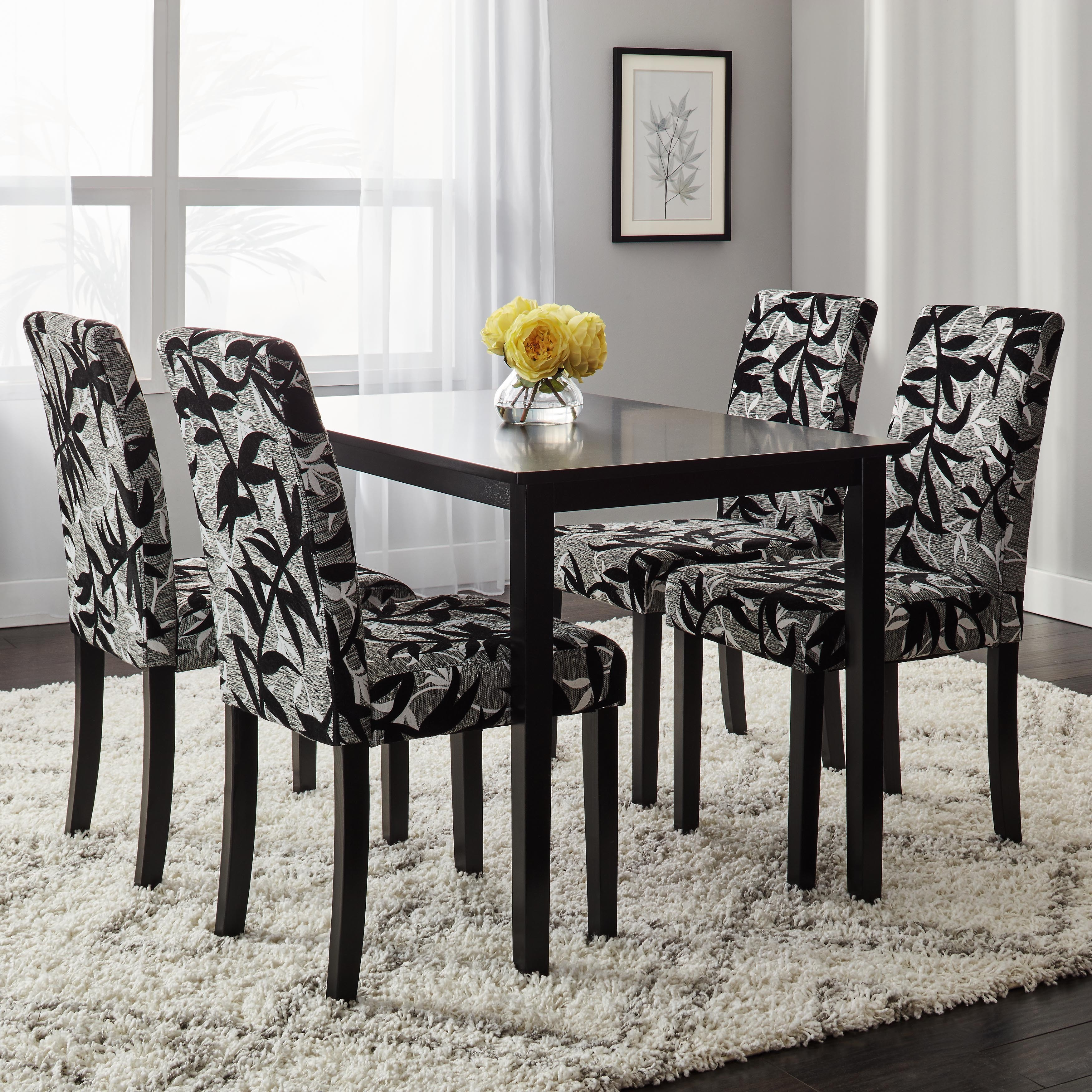 Simple Living Parson Black and Silver 5-Piece Dining Table and Chairs Set - Free Shipping Today - Overstock - 14063800 & Simple Living Parson Black and Silver 5-Piece Dining Table and ...