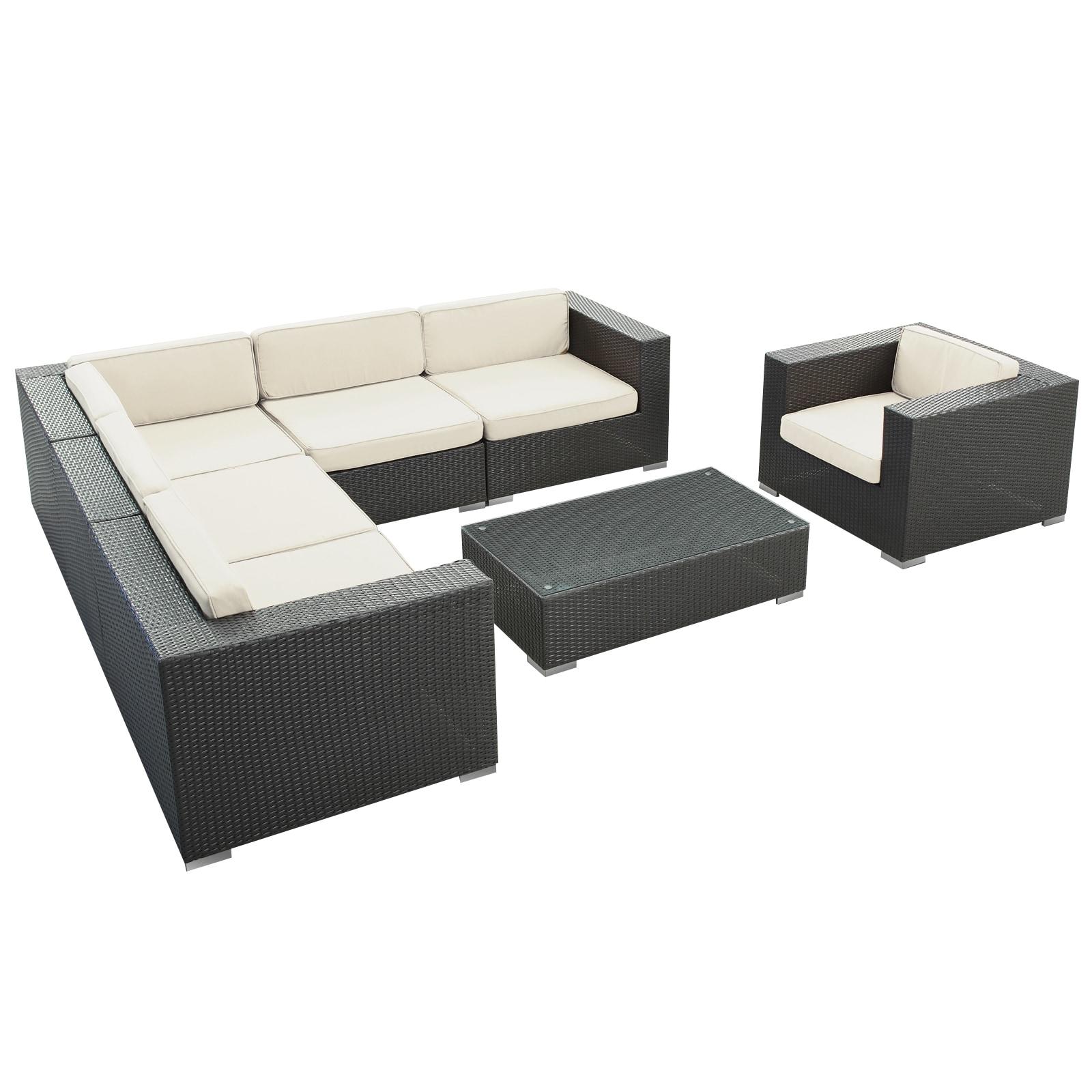 Corona Outdoor Patio Espresso 7 Piece Sectional Sofa Set Free