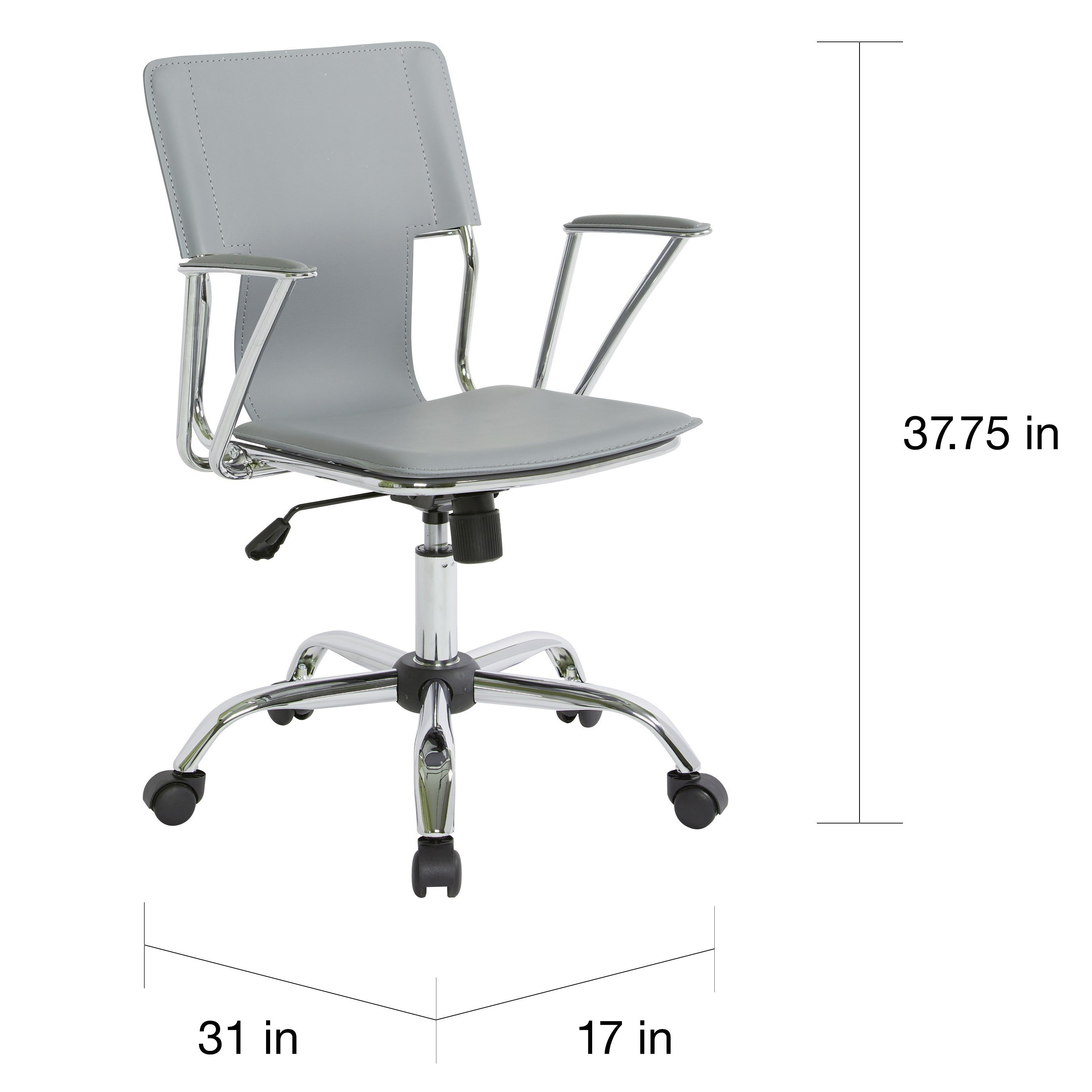 Ave Six Dorado Office Chair With Fixed Padded Arms And Chrome Finish N A Free Shipping Today 6468399
