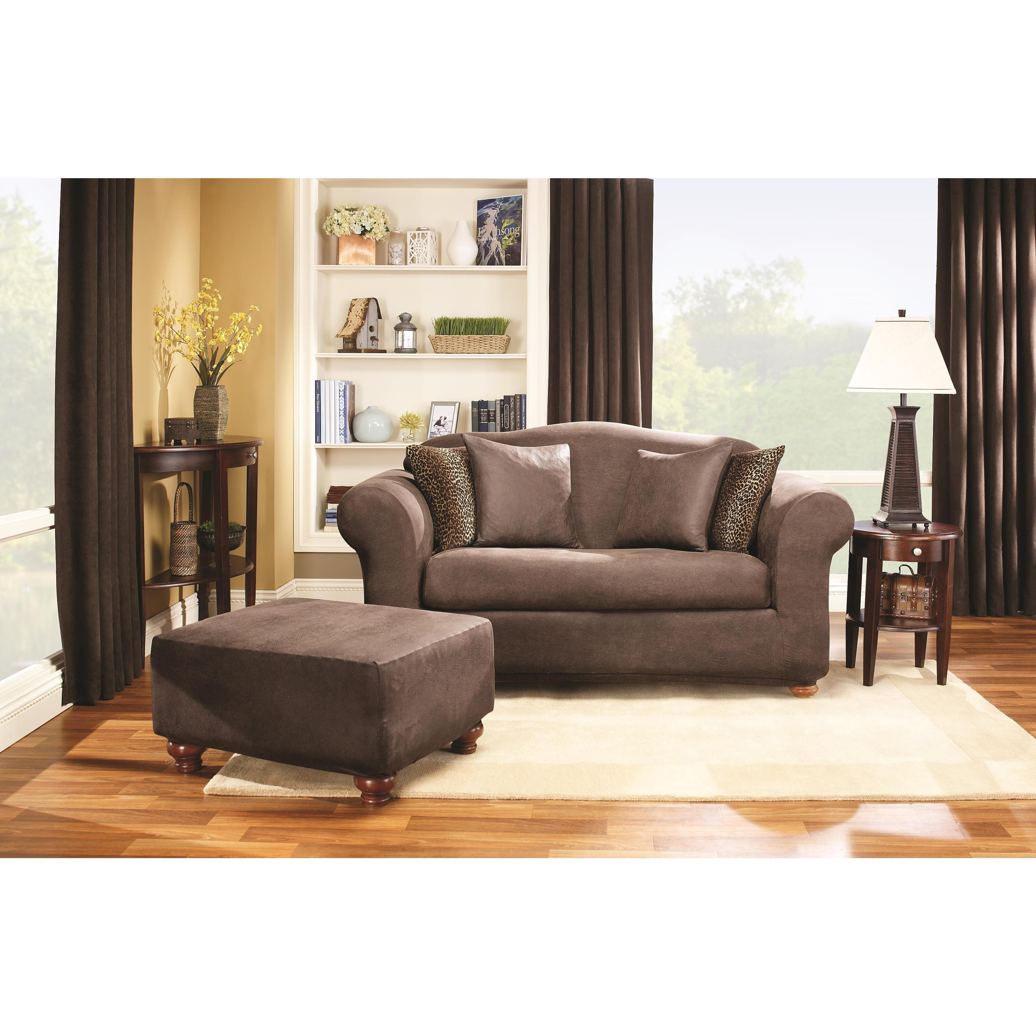 Merveilleux Shop Sure Fit Stretch Faux Leather 2 Piece T Cushion Sofa Slipcover   Free  Shipping Today   Overstock.com   6470288