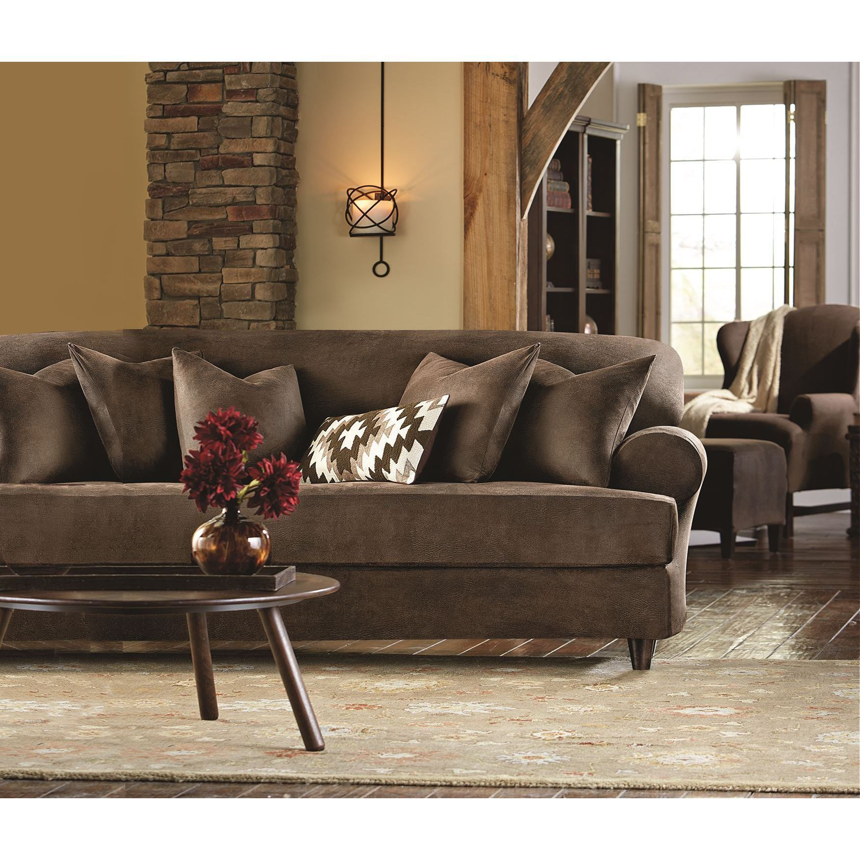 Shop Sure Fit Stretch Faux Leather 2 Piece T Cushion Sofa Slipcover