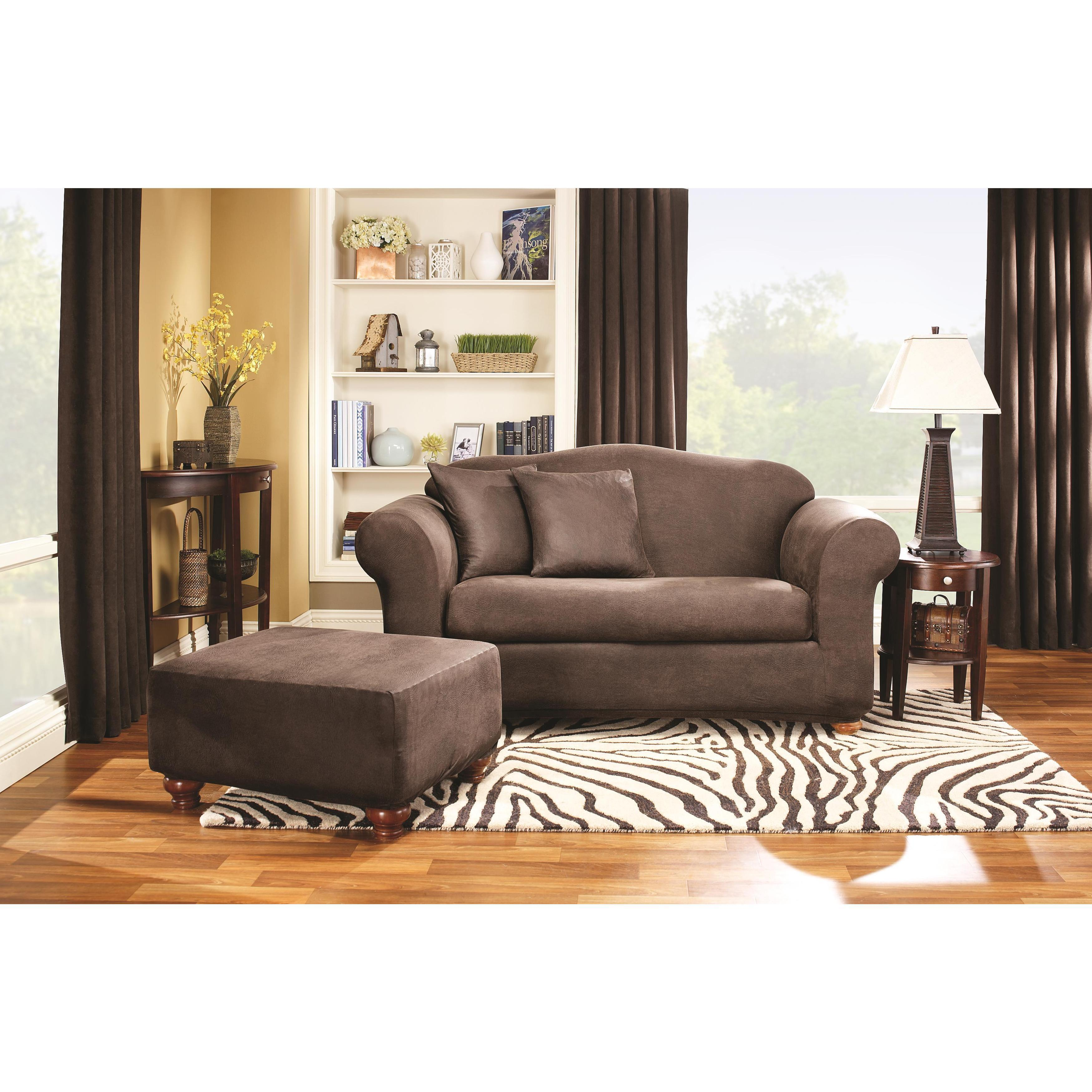 Shop Sure Fit Stretch Faux Leather 2 Piece T Cushion Sofa Slipcover   Free  Shipping Today   Overstock.com   6470288