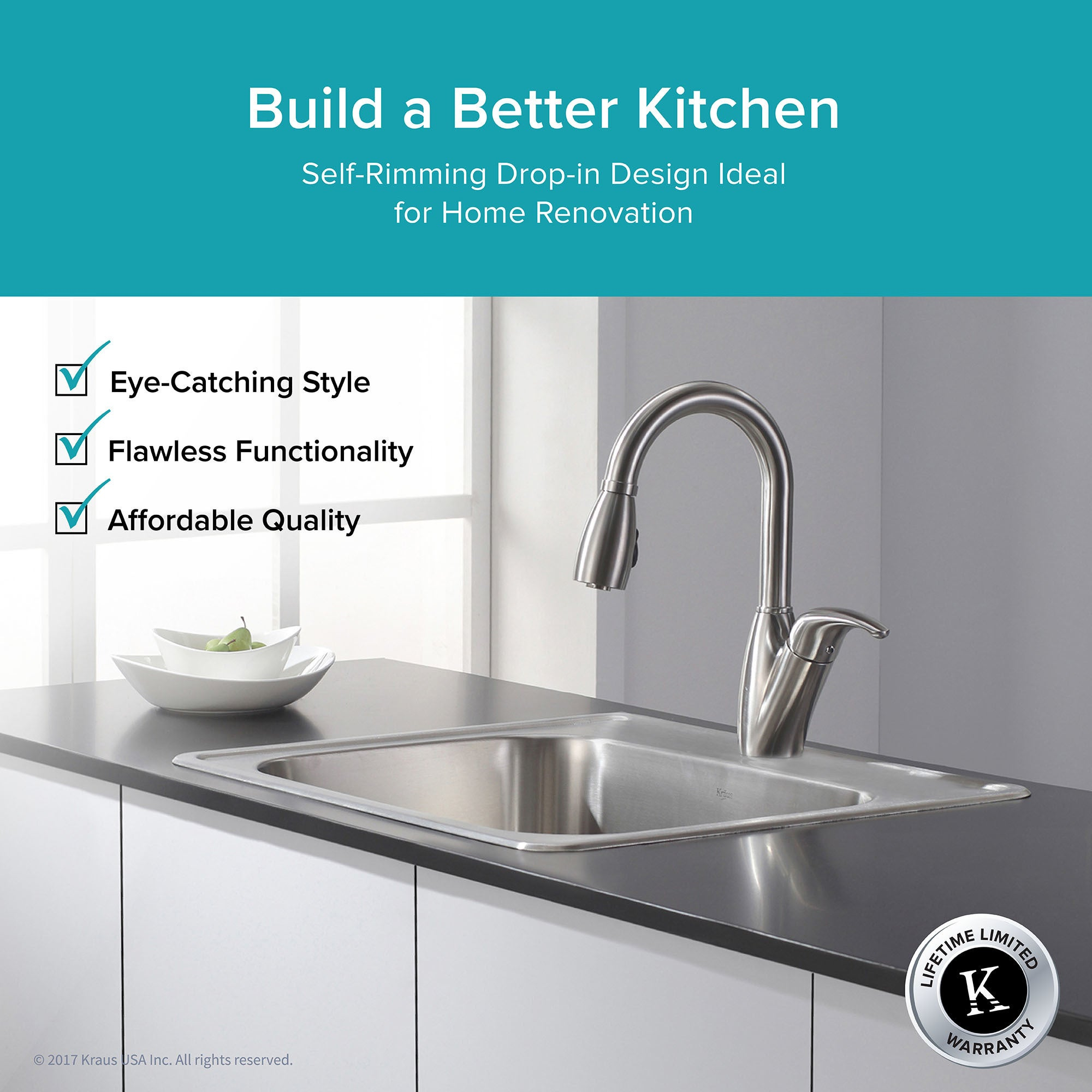 Kraus Ktm24 Drop In 25 Inch 18 Gauge Single Bowl Satin Stainless Steel Kitchen Sink With Noisedefend Soundproofing On Free Shipping Today